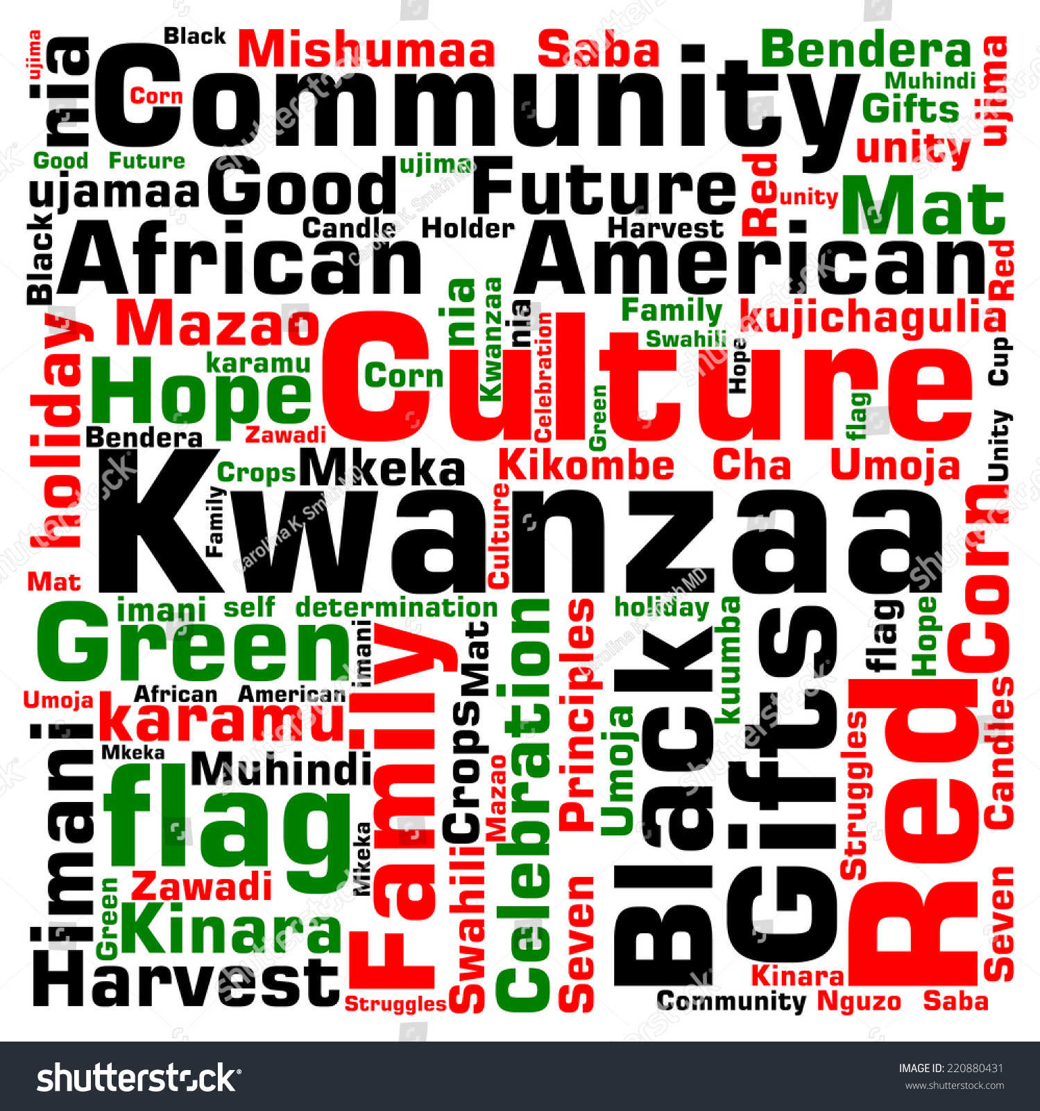 Kwanzaa Word Cloud Infographic Shows Words Stock Vector 220880431