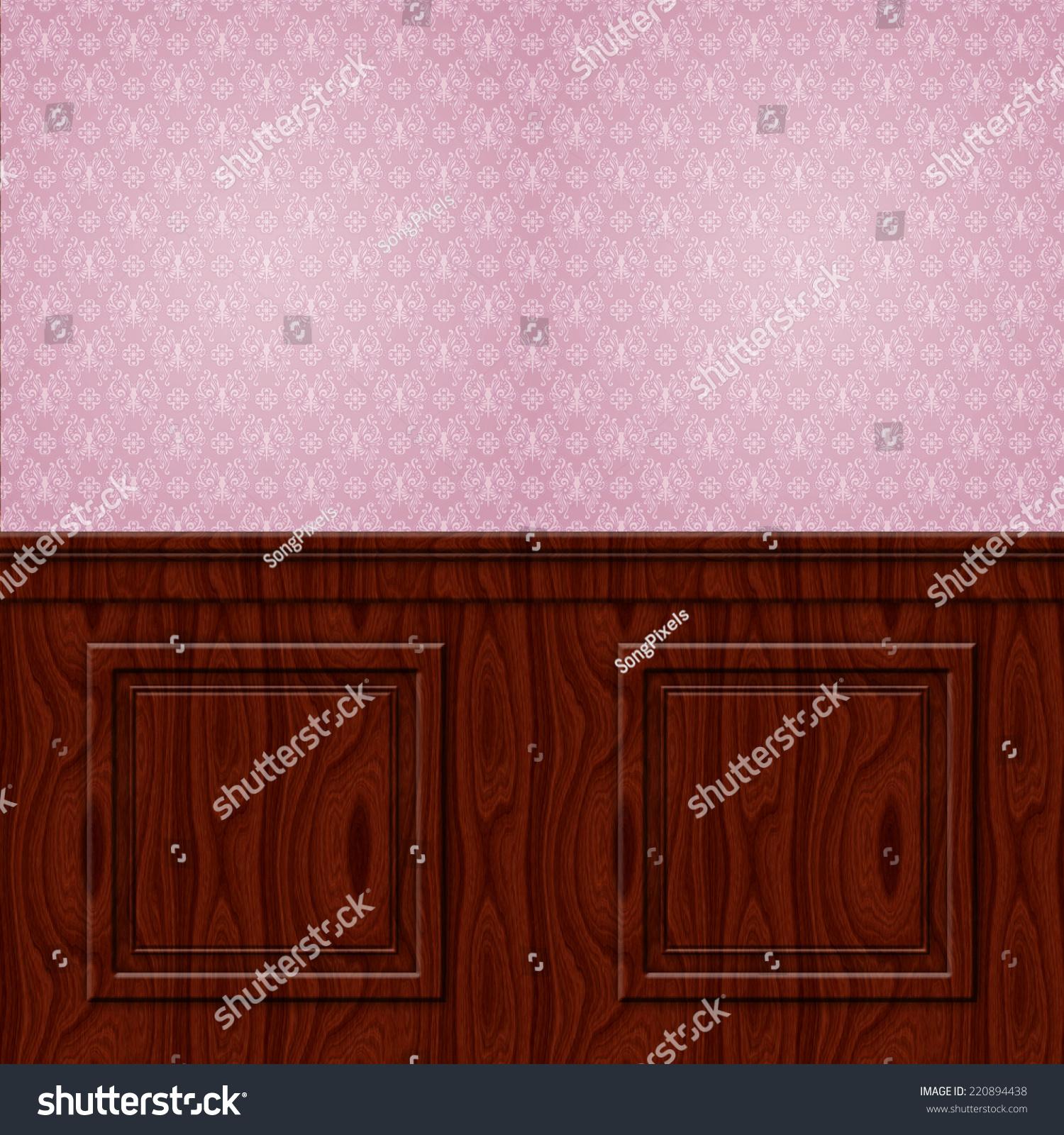 Mahogany Wood Wall Paneling : Interior wall damask wallpaper mahogany wood wainscoting