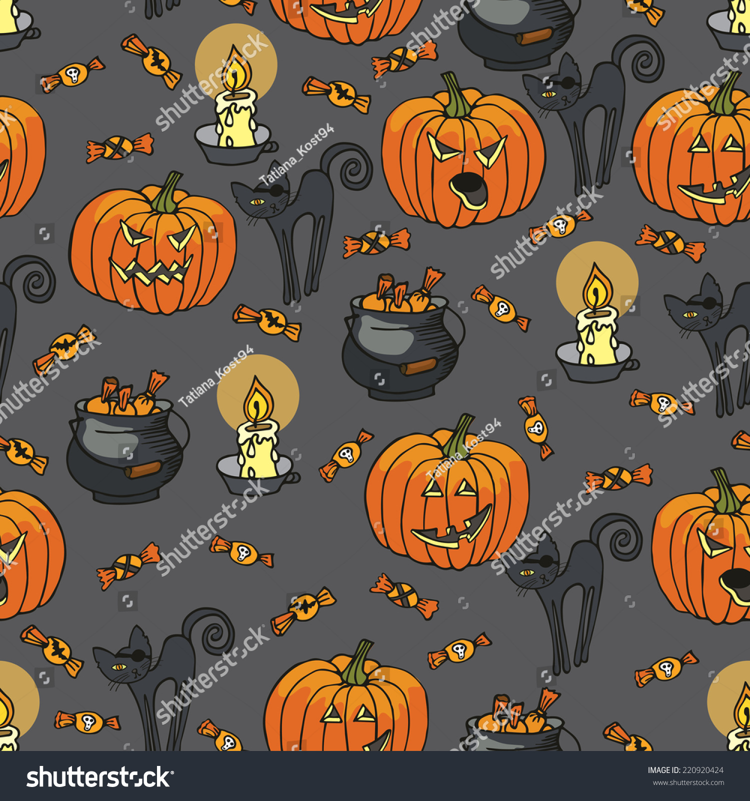 Halloween Doodles Seamless Pattern Backgroundhand Drawing Stock ...