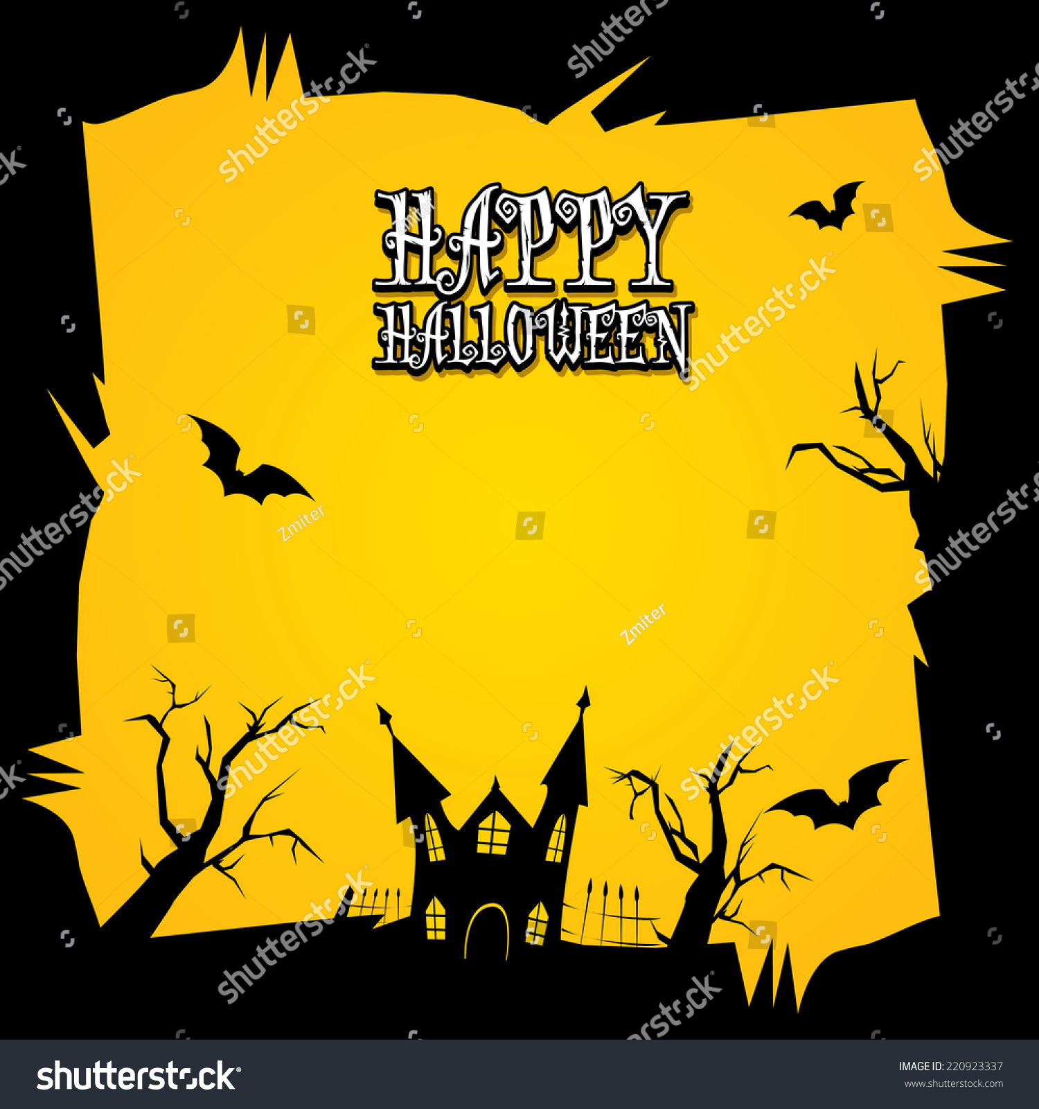 Vector Happy Halloween Card Design Template Stock Vector 220923337