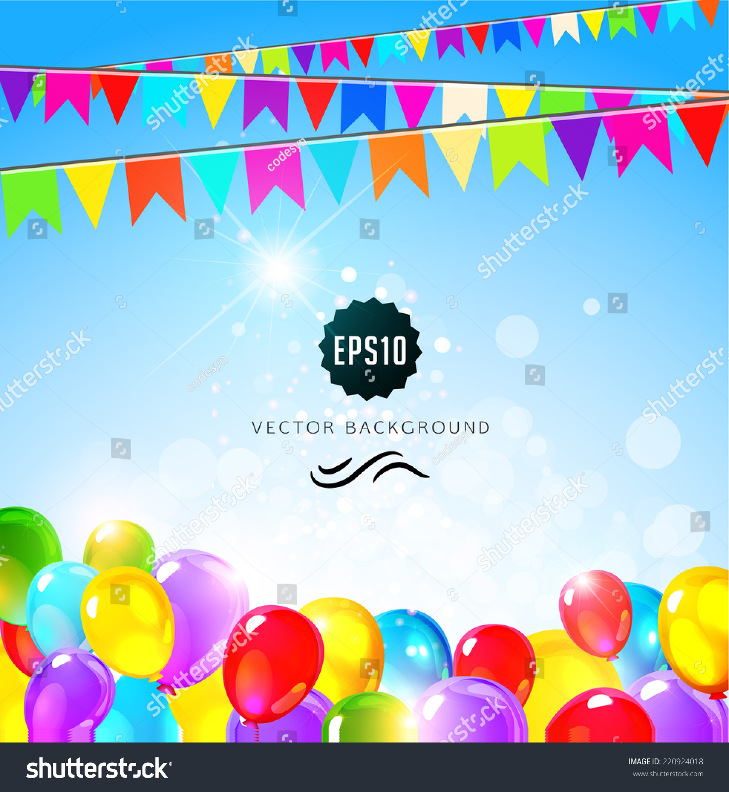 Holiday Background Flags Balloons Birthday Party Stock Vector