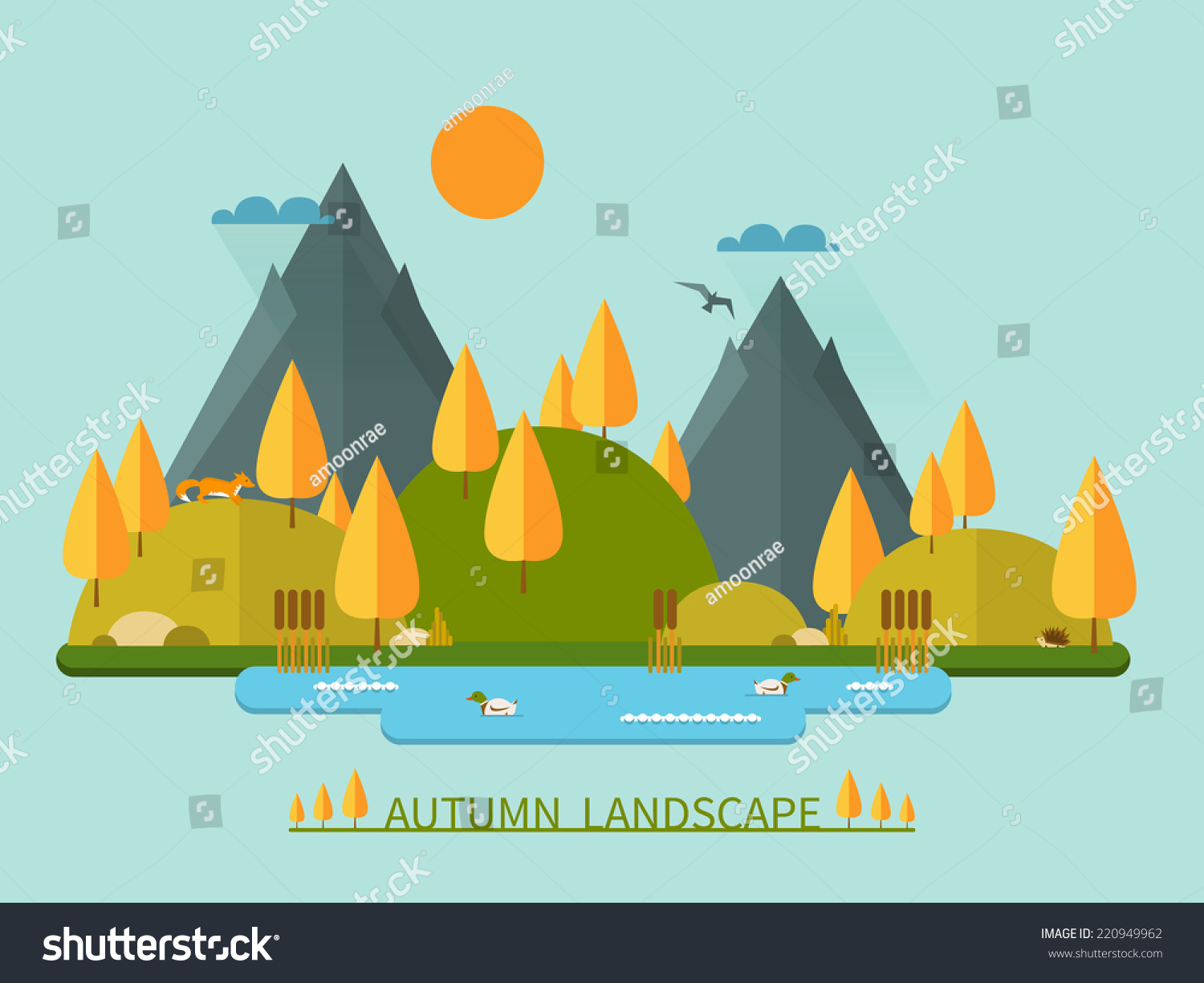 Flat autumn nature landscape illustration colorful stock for Flat design pictures