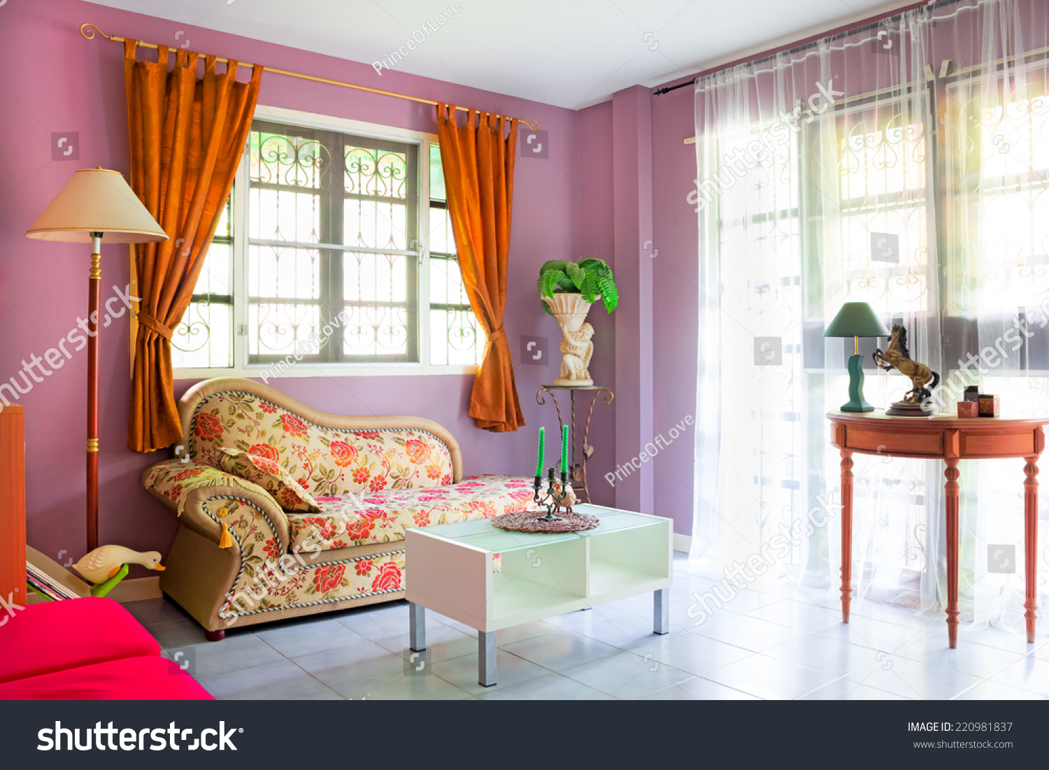 purple cozy living room modern contemporary stock photo 220981837 shutterstock. Black Bedroom Furniture Sets. Home Design Ideas