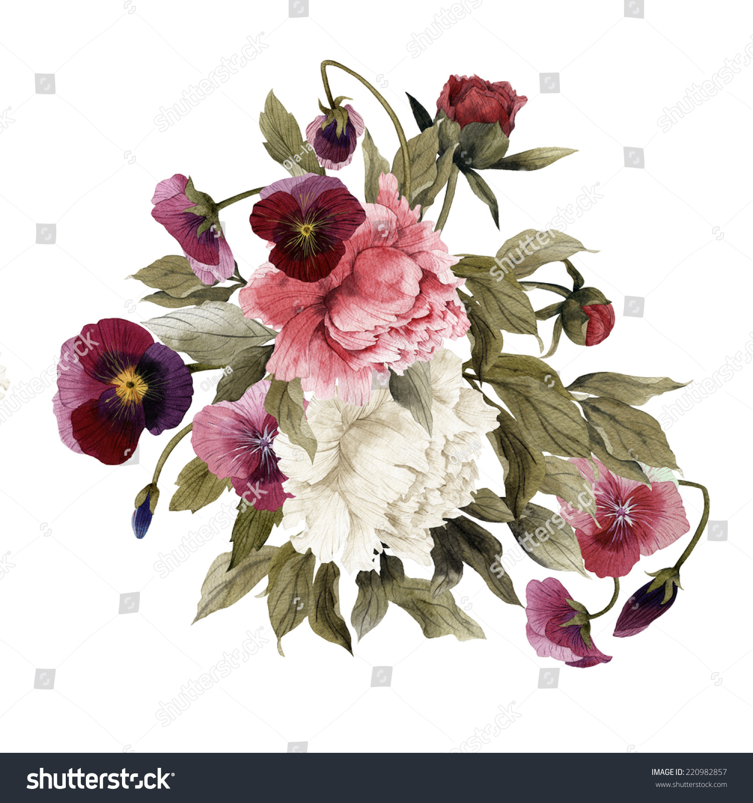 Bouquet Of Peonies And Pansy Watercolor Can Be Used As Greeting