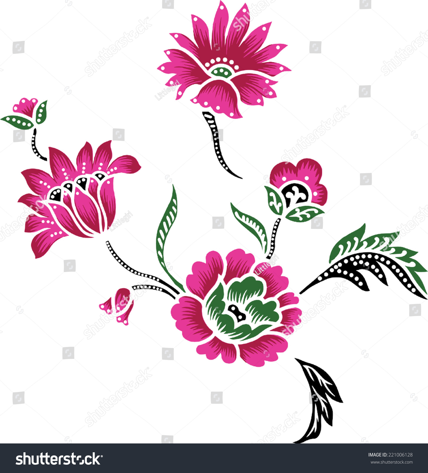 Batikdesigns Pink Flowers Stock Vector 221006128