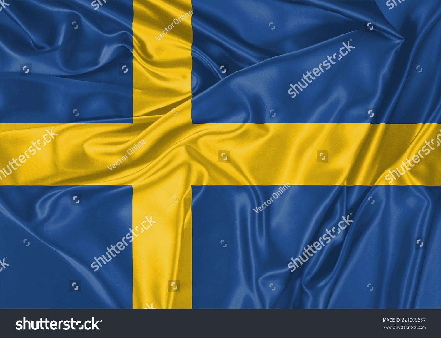 Sweeden Waving Flag Stock Illustration 221009857
