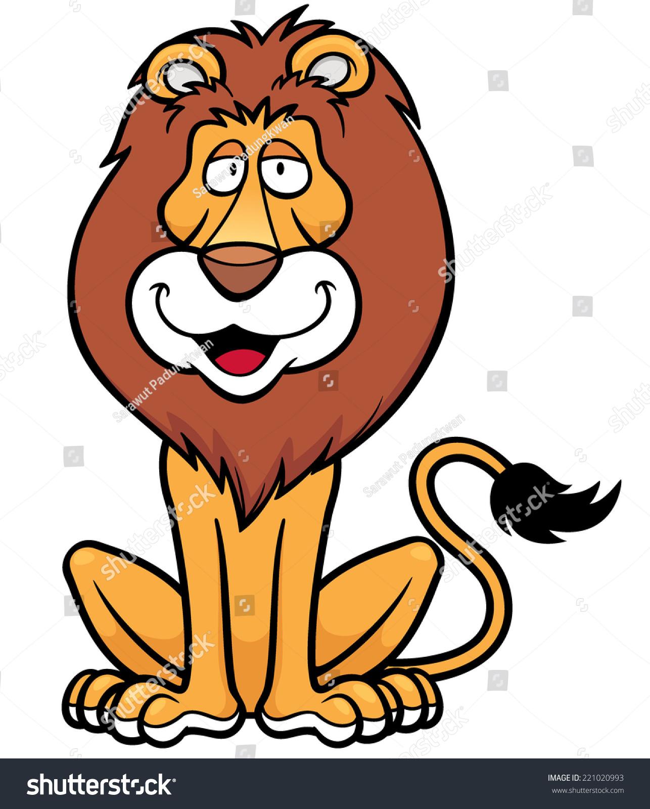 vector illustration lion cartoon stock vector 221020993 shutterstock