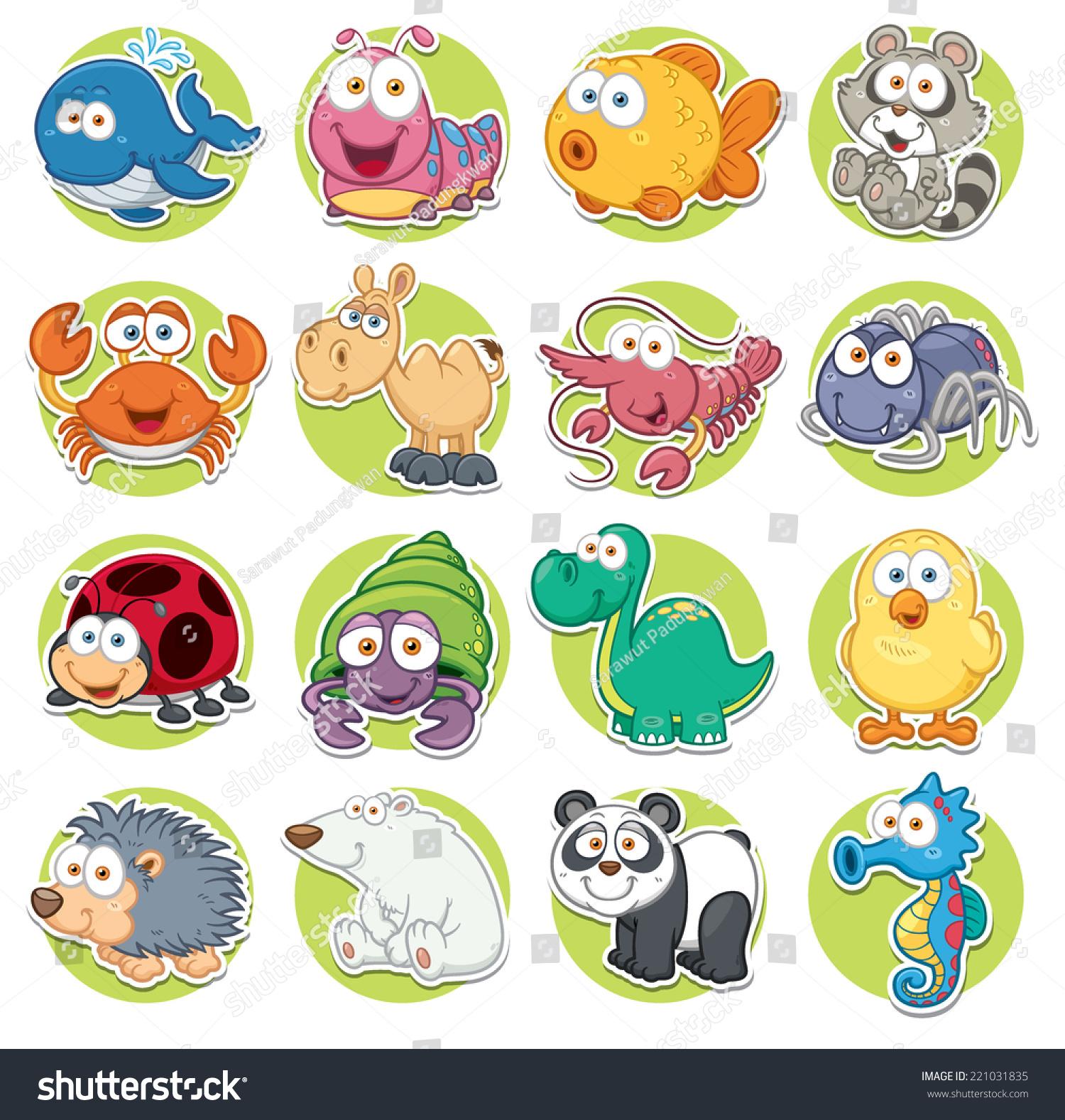 Vector illustration animals set cartoon immagine