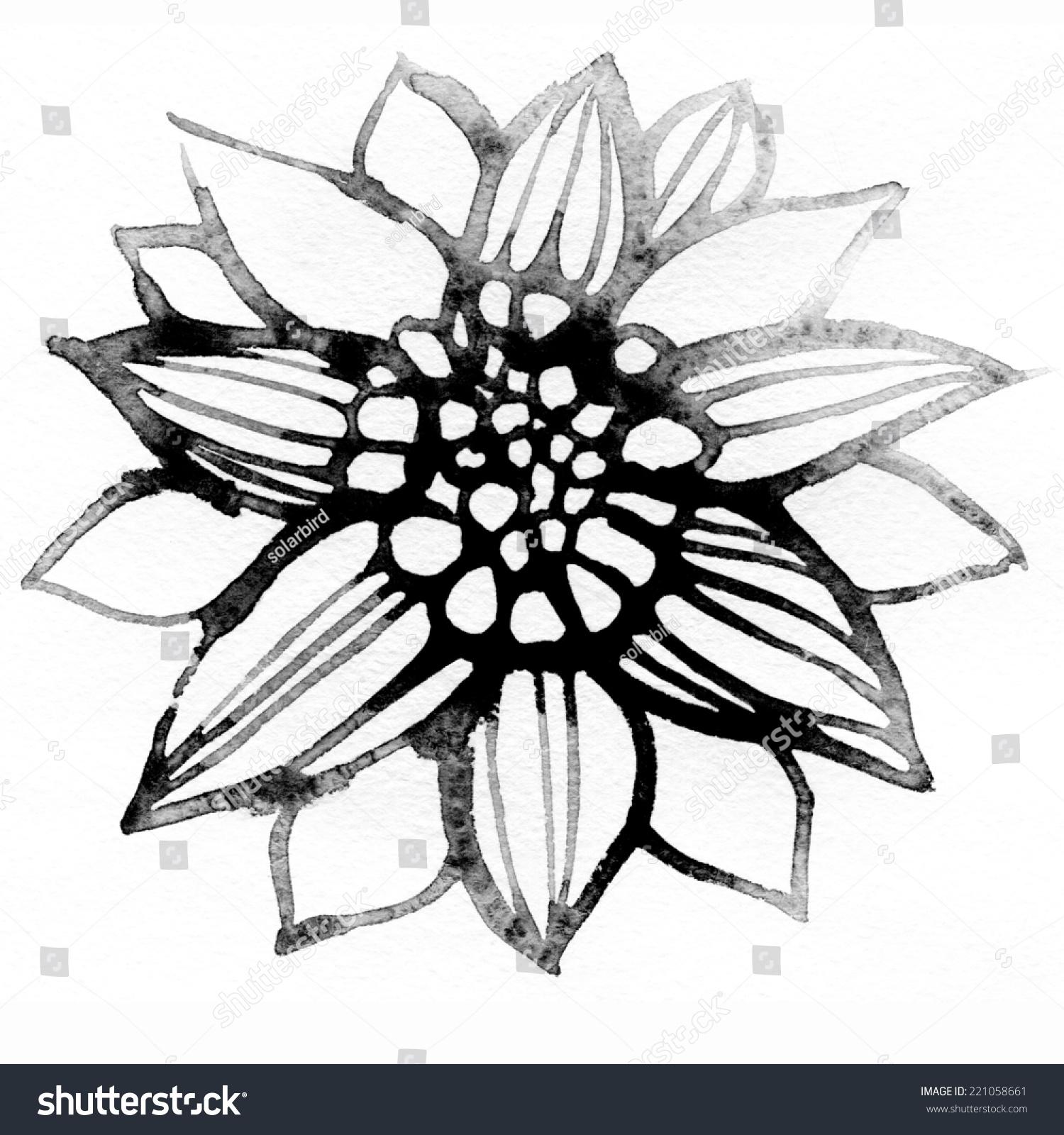 Black White Flower Watercolor Paintings Stock Illustration 221058661