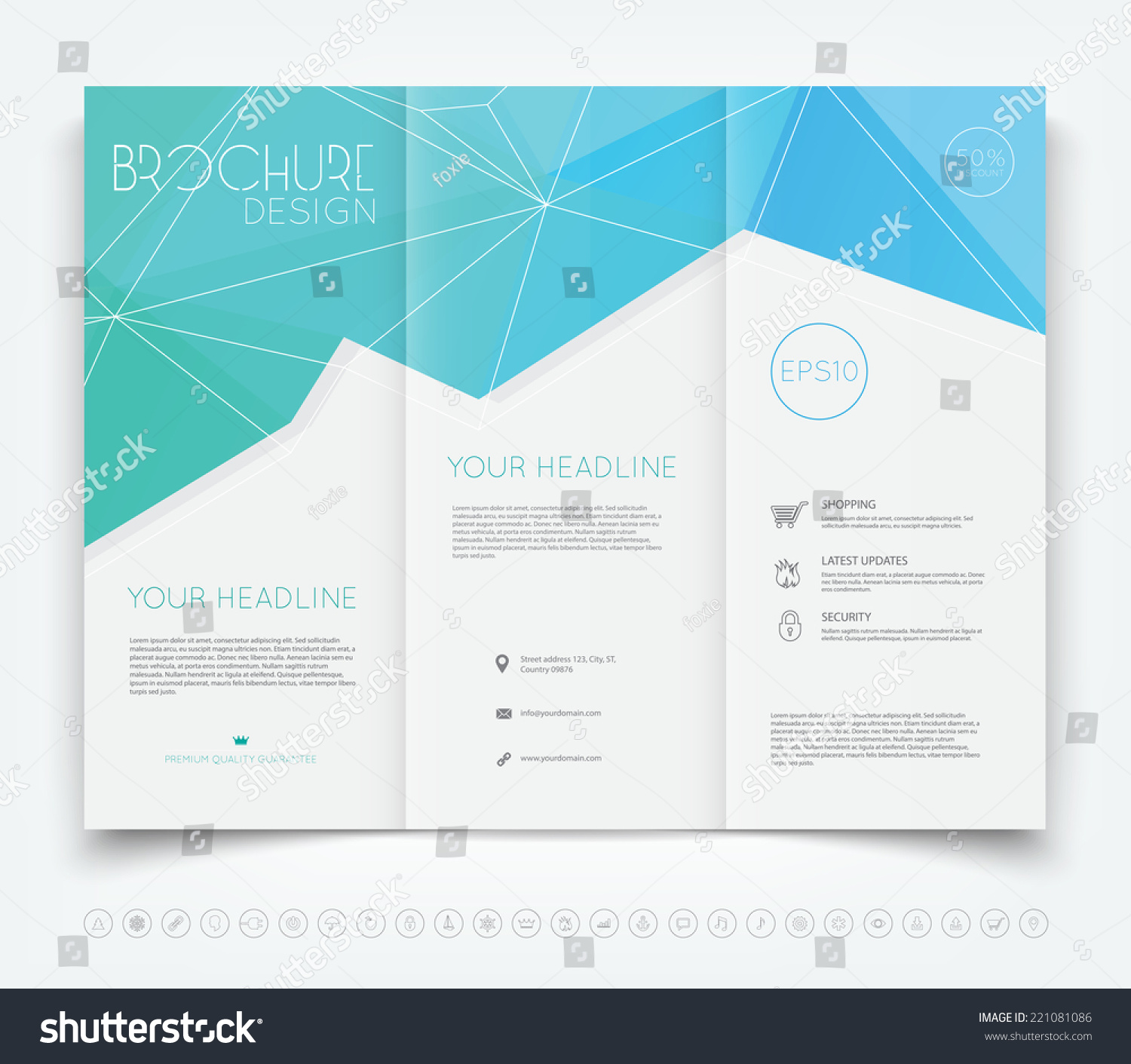 background for brochure design - vector modern trifold brochure design template stock