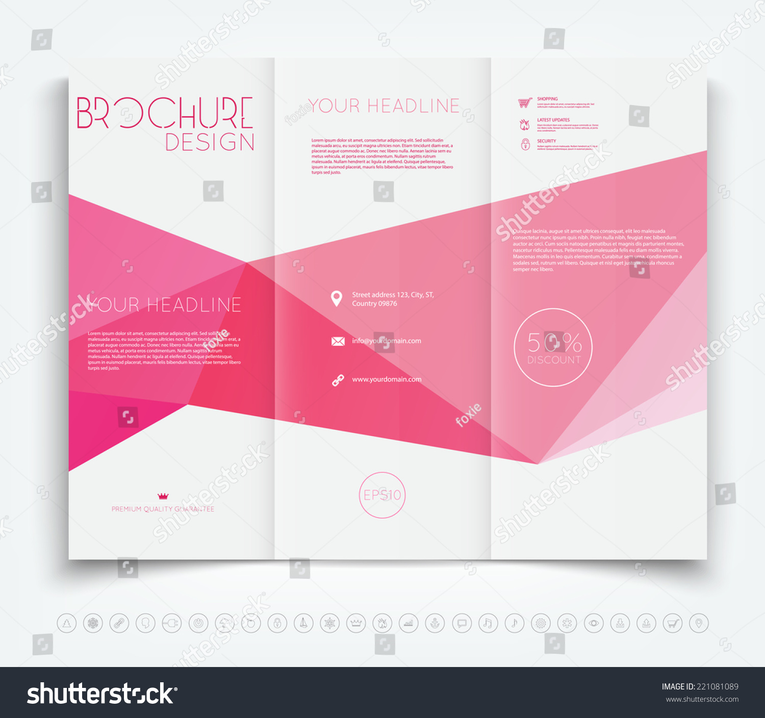 Vector modern trifold brochure design template stock for Background brochure templates