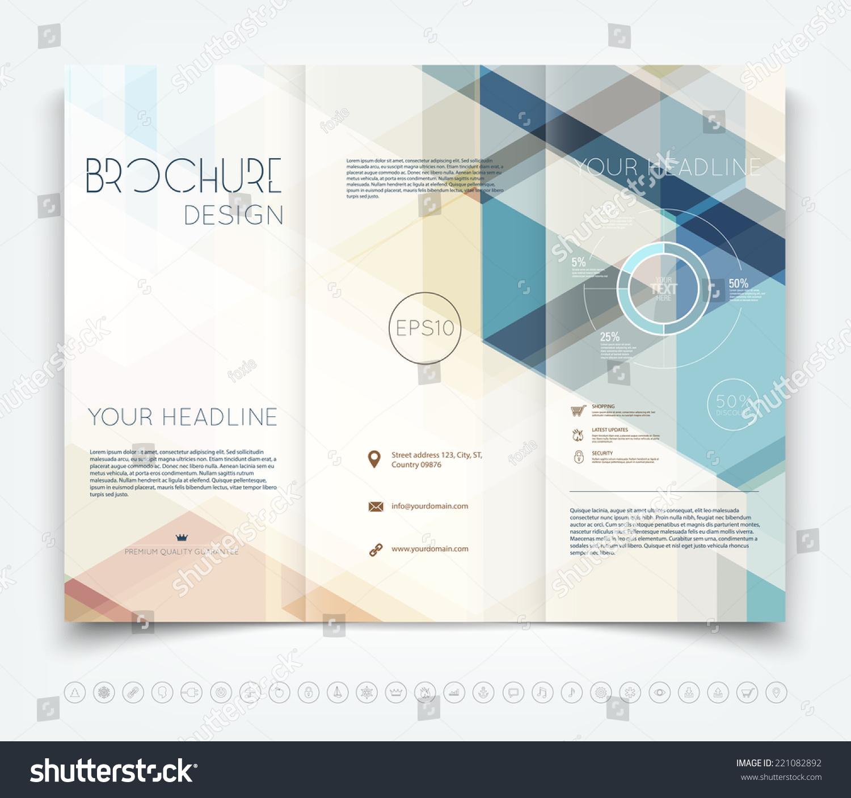 Vector modern trifold brochure design template stock for Hawaii brochure template