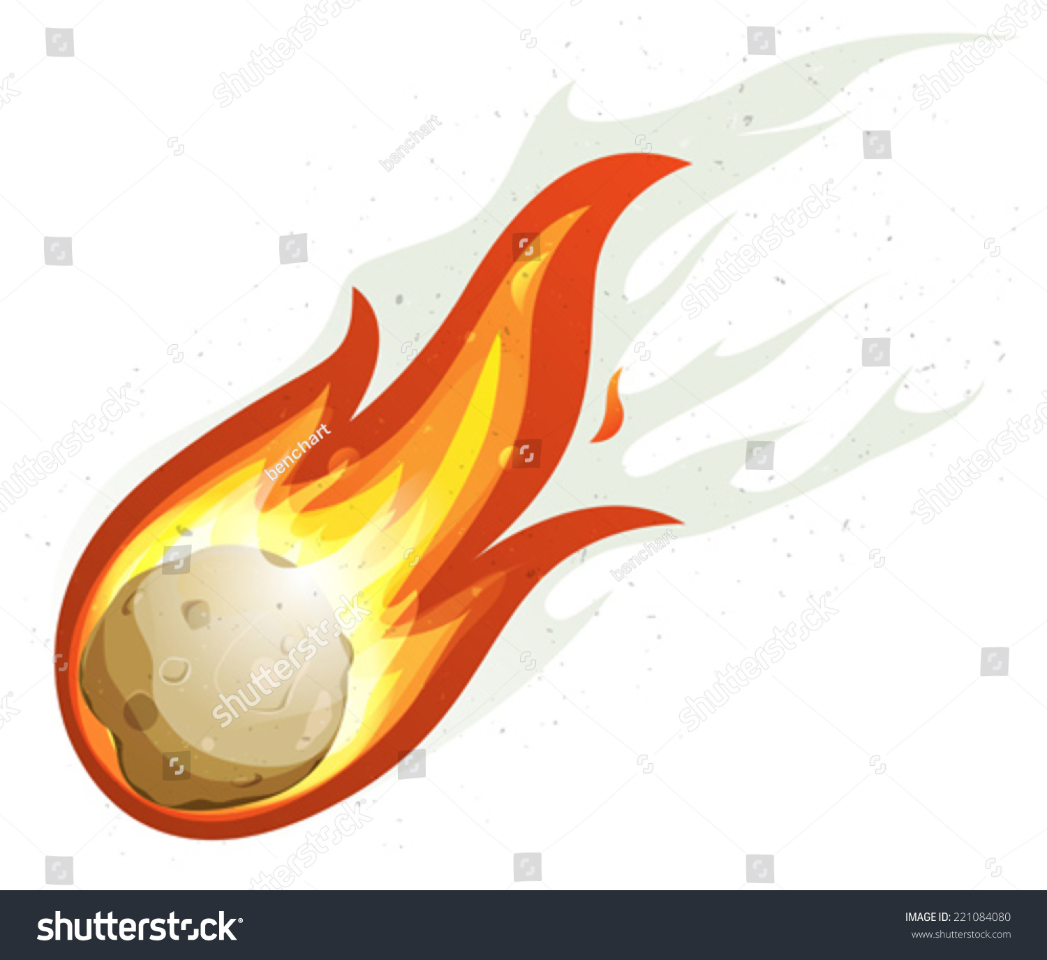 Cartoon Fireball Comet Flying Illustration Comic Stock ...