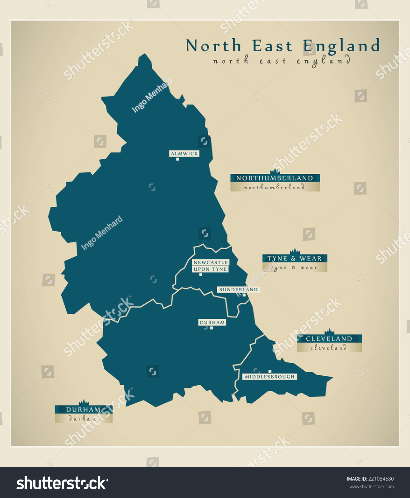 modern map north east england uk stock vector 221084680 shutterstock