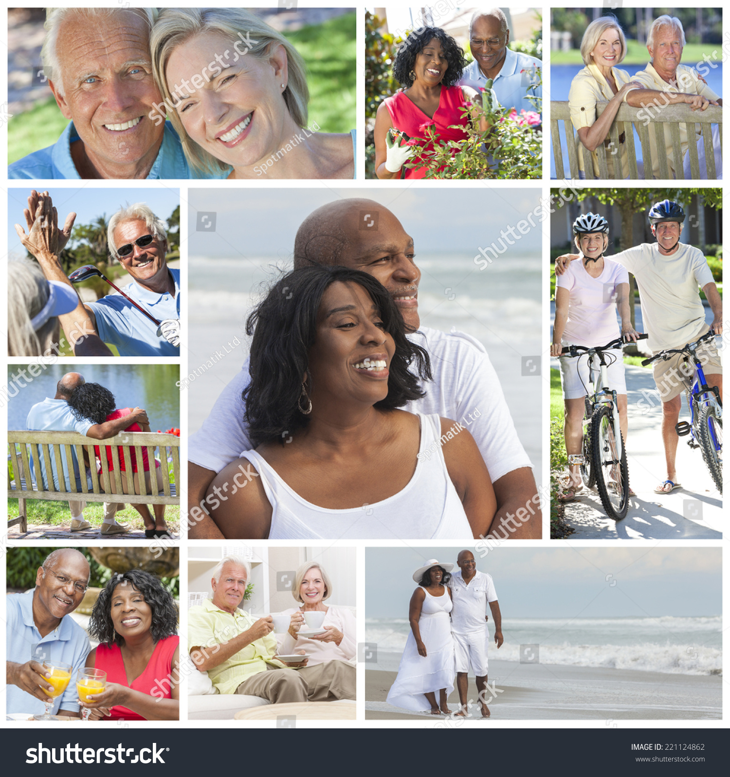 Woman Enjoying At Beach Stock Image Image Of Pleasure: Montage Of Happy Interracial Old Senior Man Woman Couples