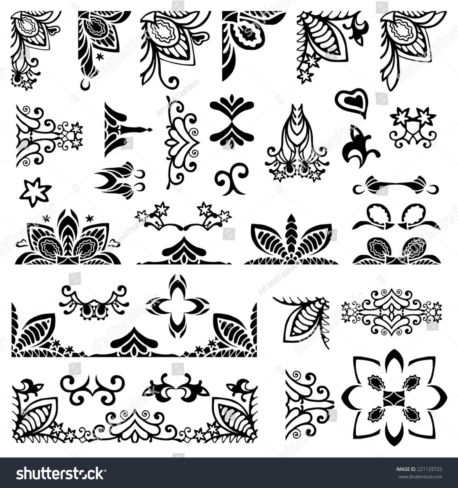 Set Of Black Flower Design Elements Stock Vector: Big Set 35 Design Elements Frame Stock Vector 221129725