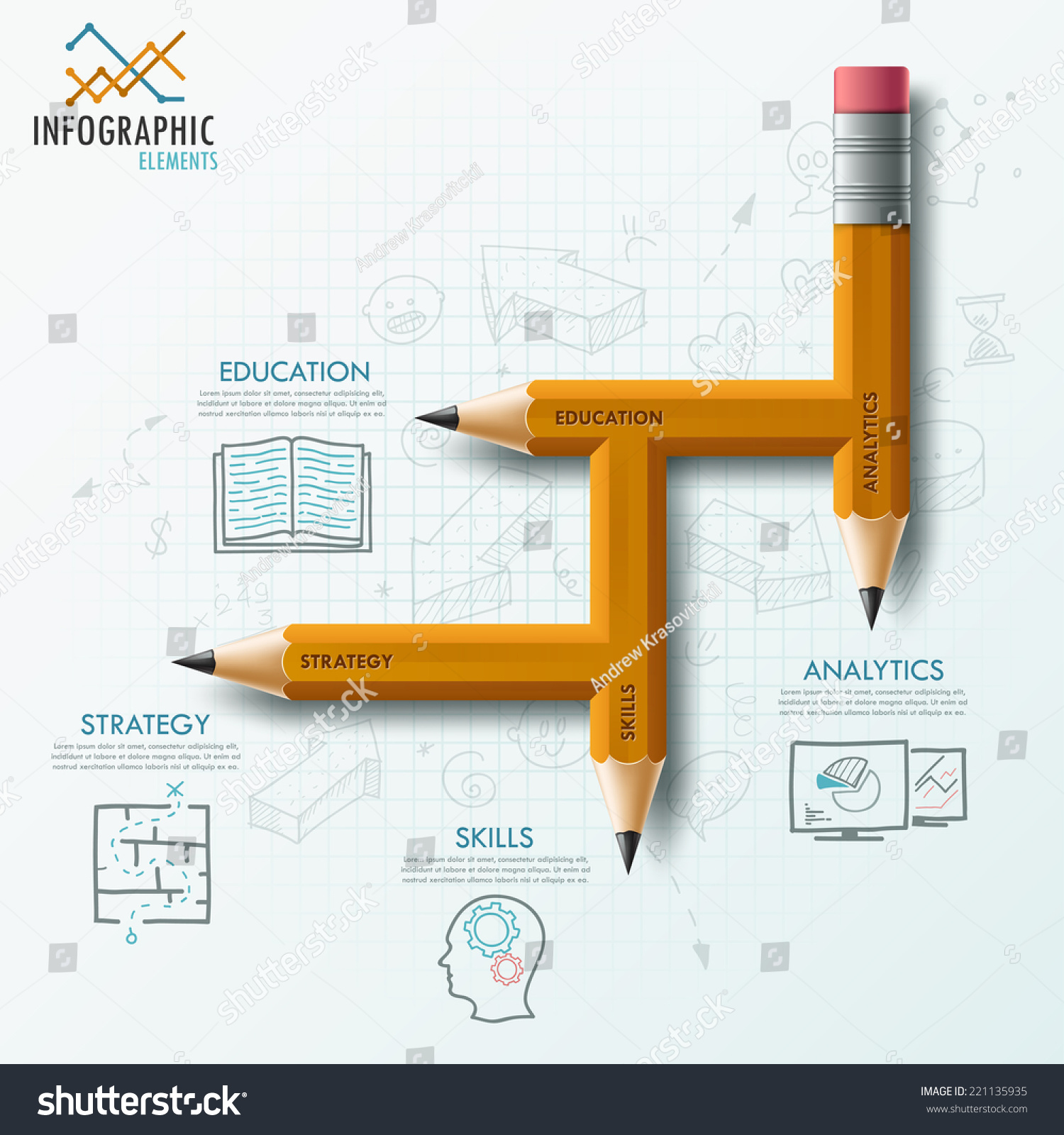 Modern infographic process template with unusual pencil for 4 steps and hand drawn sketches on paper background vector can be used for web design and