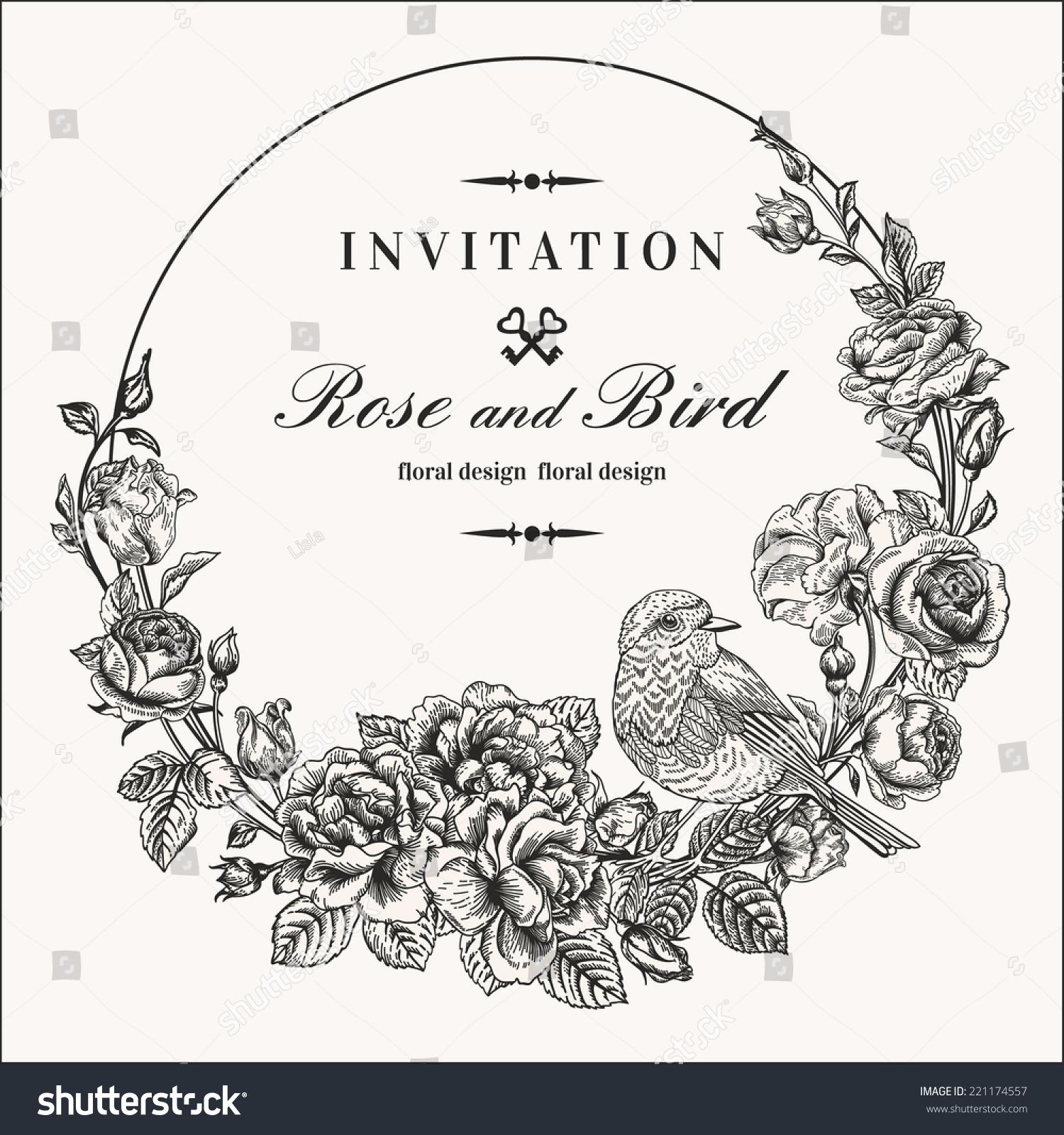 Vector Vintage Round Frame Birds Roses Stock Vector ...