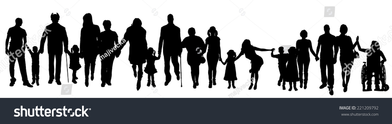 Vector Silhouette Of A Group Of People Who Are Holding ...