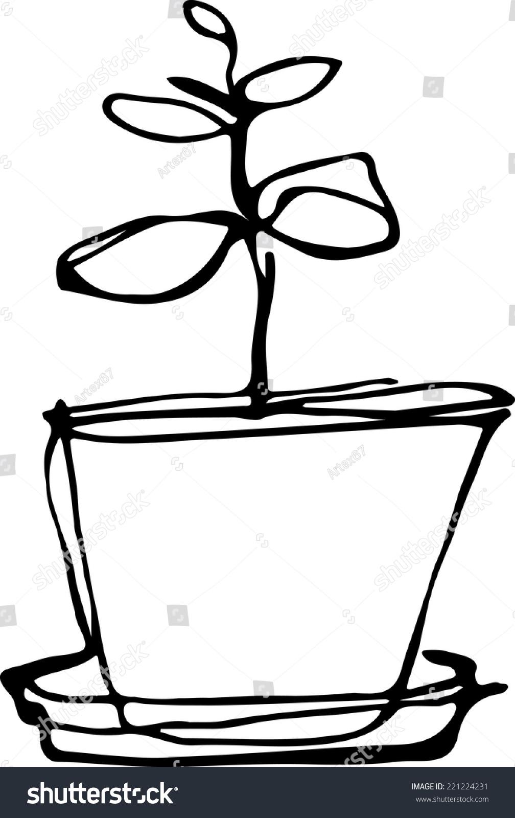Black White Sketch Flower Room Flowerpot Stock Vector Royalty Free