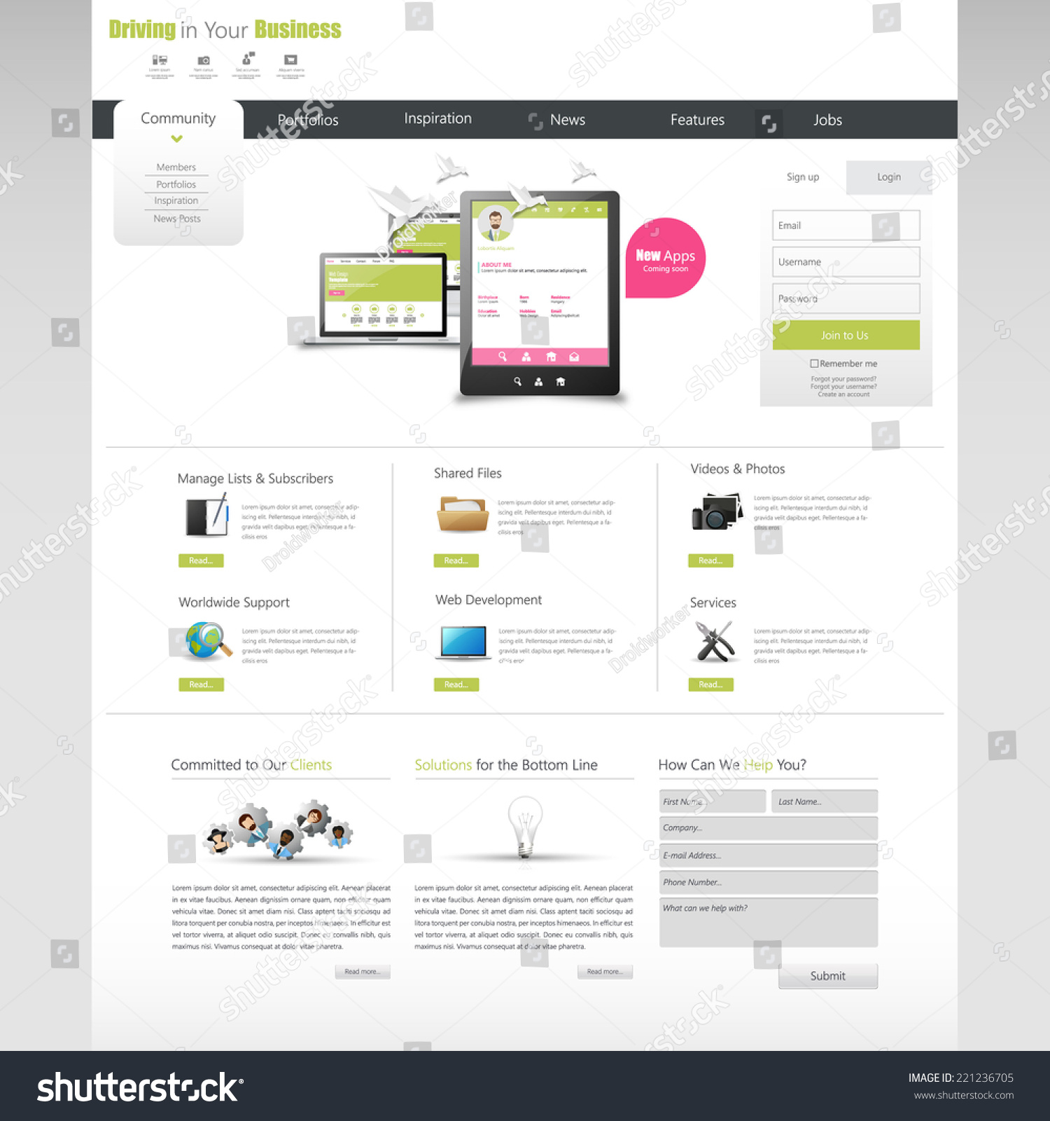 Clean business professional website template eps stock vector clean business professional website template eps 10 vector illustration cheaphphosting Gallery