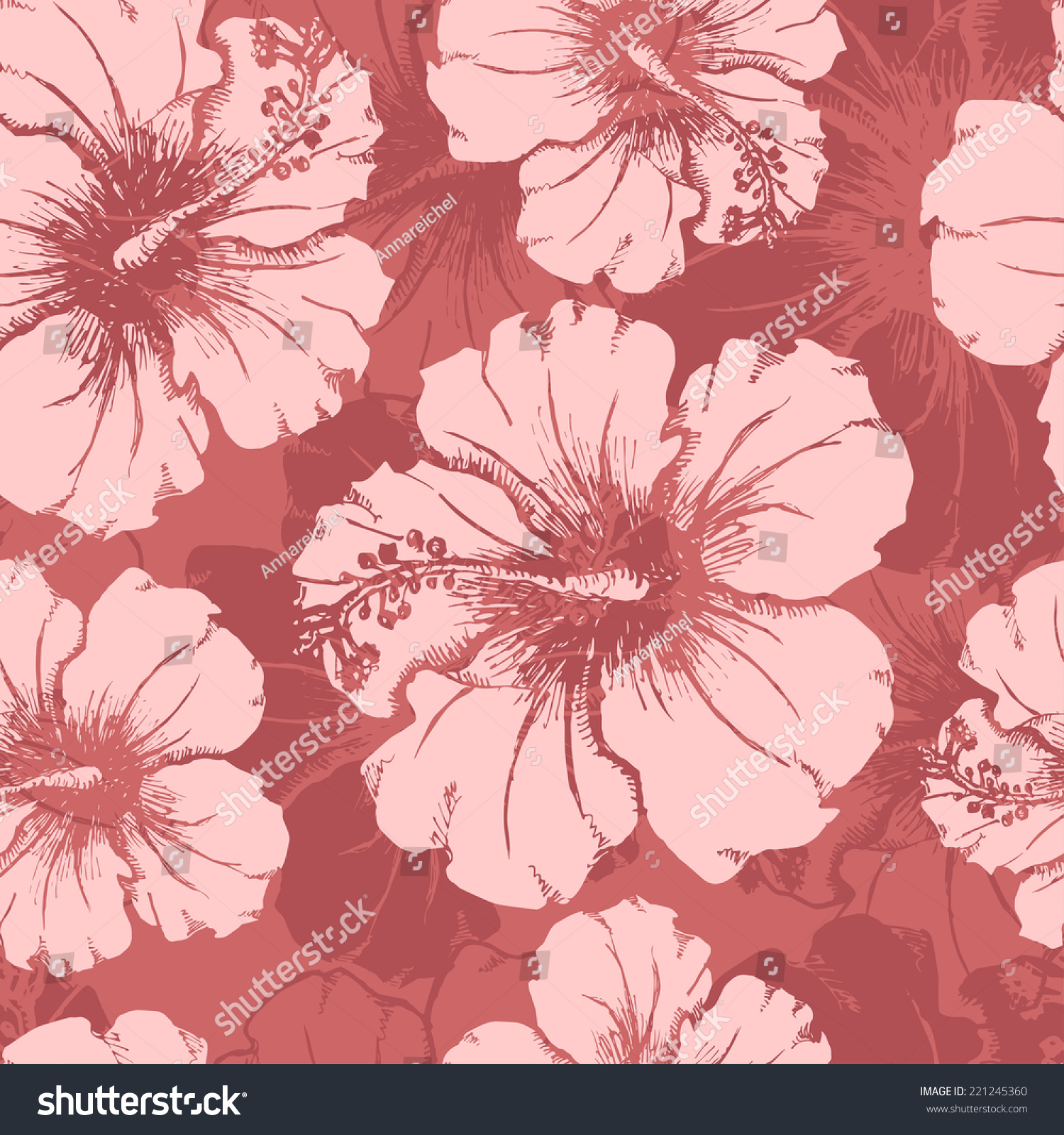 Hand drawn hibiscus flowers clear seamless stock vector 221245360 hand drawn hibiscus flowers clear seamless pattern all objects are conveniently grouped and are easily izmirmasajfo