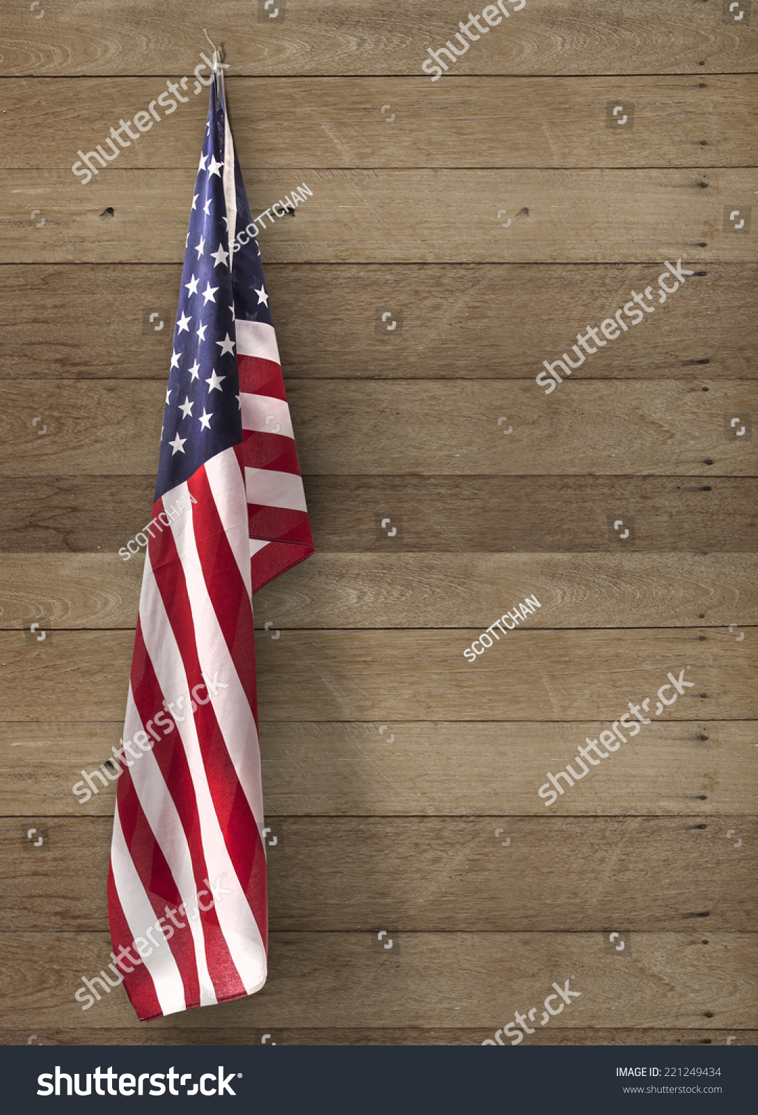 flag usa hanging on wooden wall stock photo 221249434. Black Bedroom Furniture Sets. Home Design Ideas