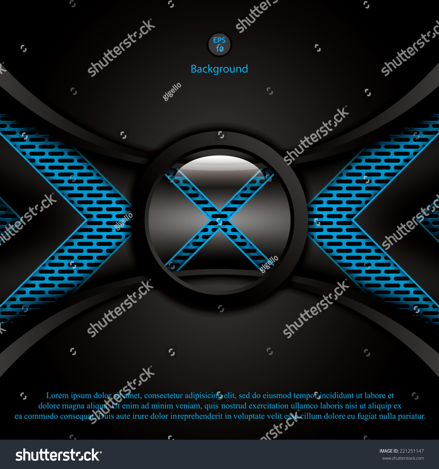 Abstract background metallic blue brochure vector
