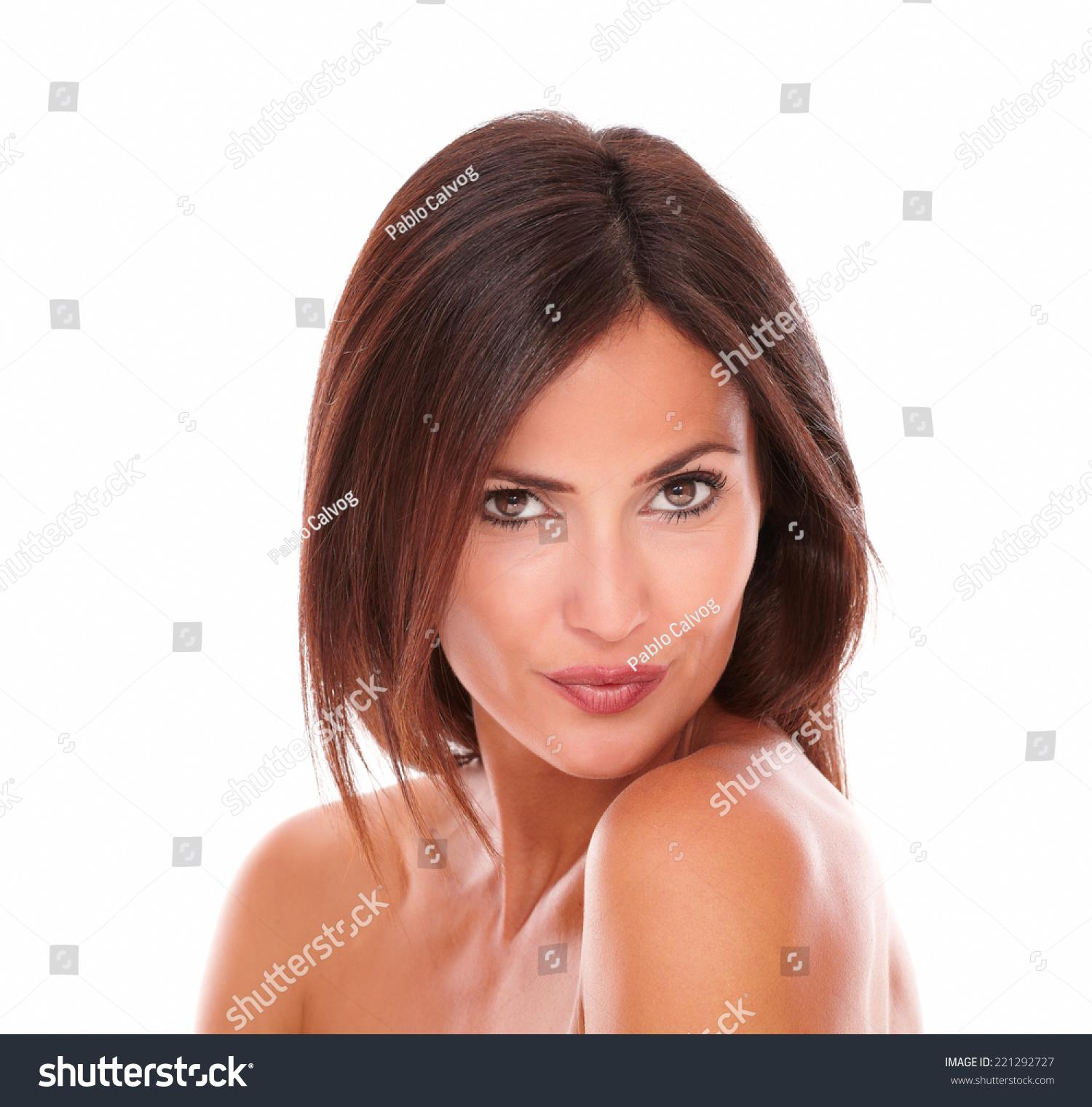 headshot portrait sexy adult female looking stock photo (royalty