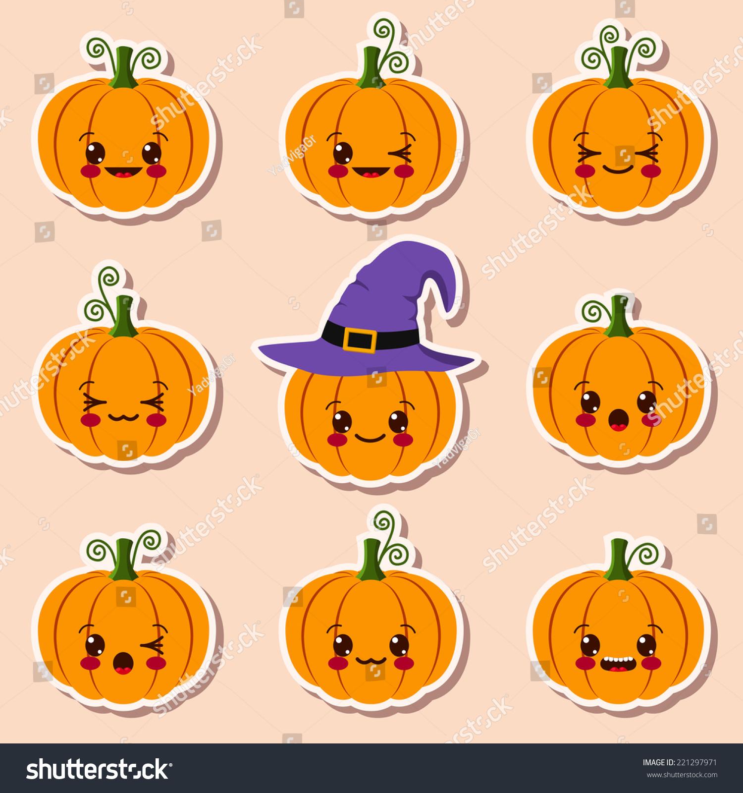 Kawaii Halloween Pumpkins Stock Vector 221297971 - Shutterstock