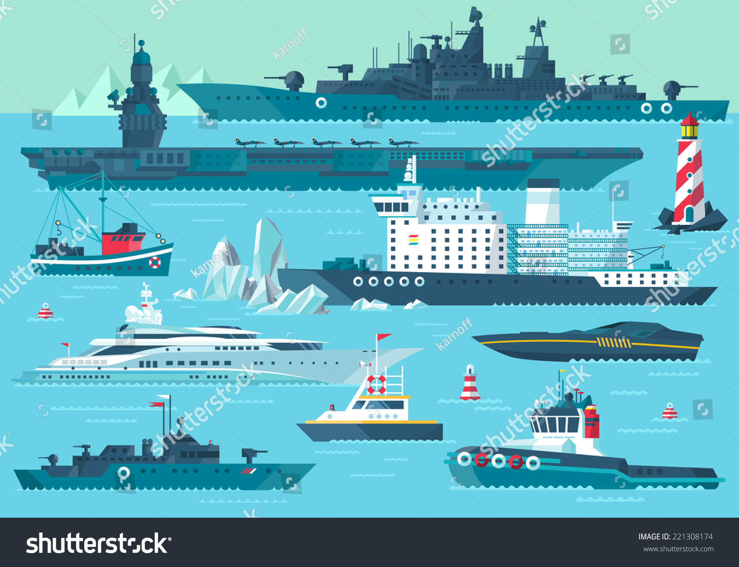 Modern Ship Design : Super set water carriage maritime transport stock vector