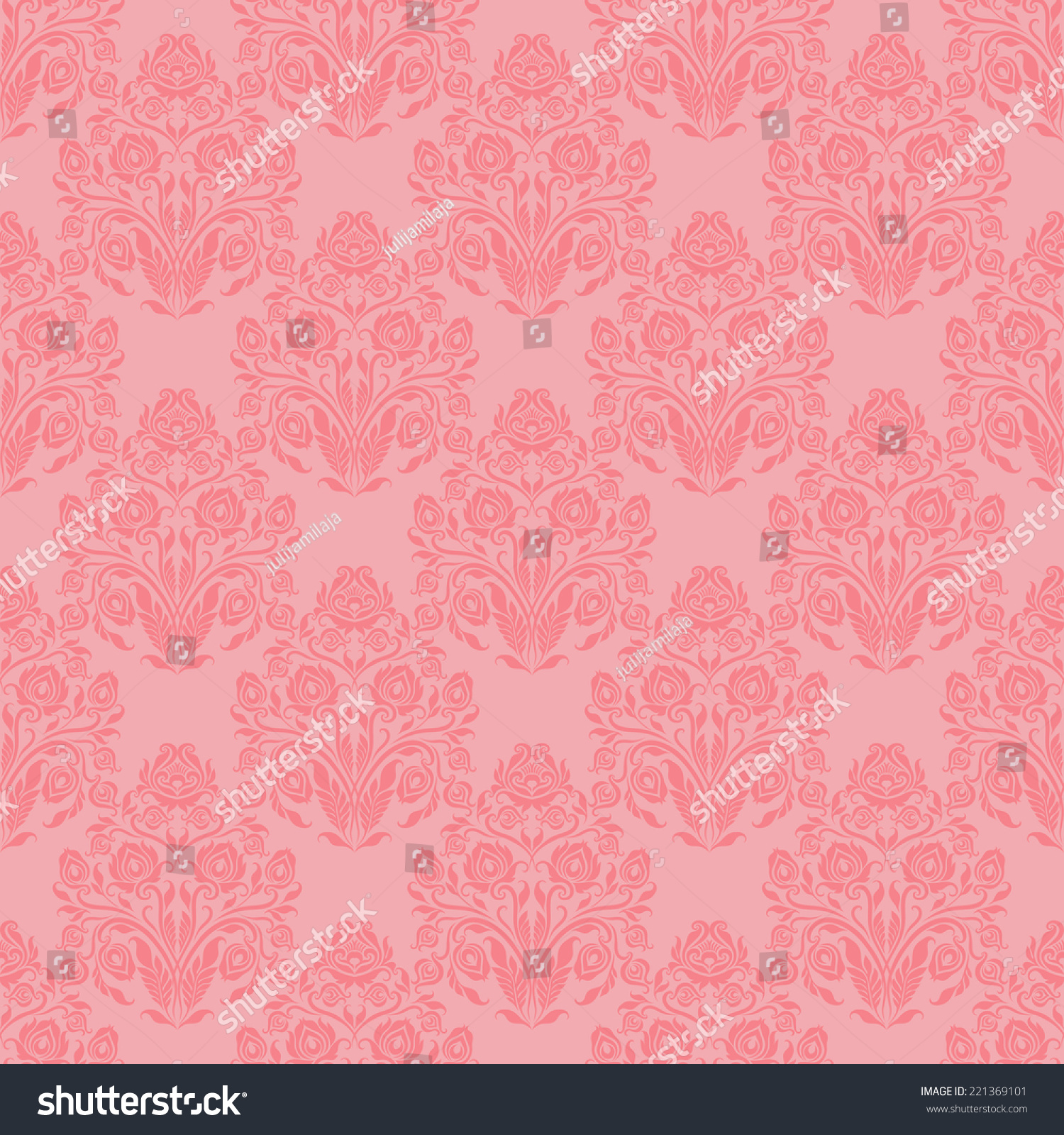 Damask Seamless Floral Pattern Royal Wallpaper Ornaments On A Pink Background Vector