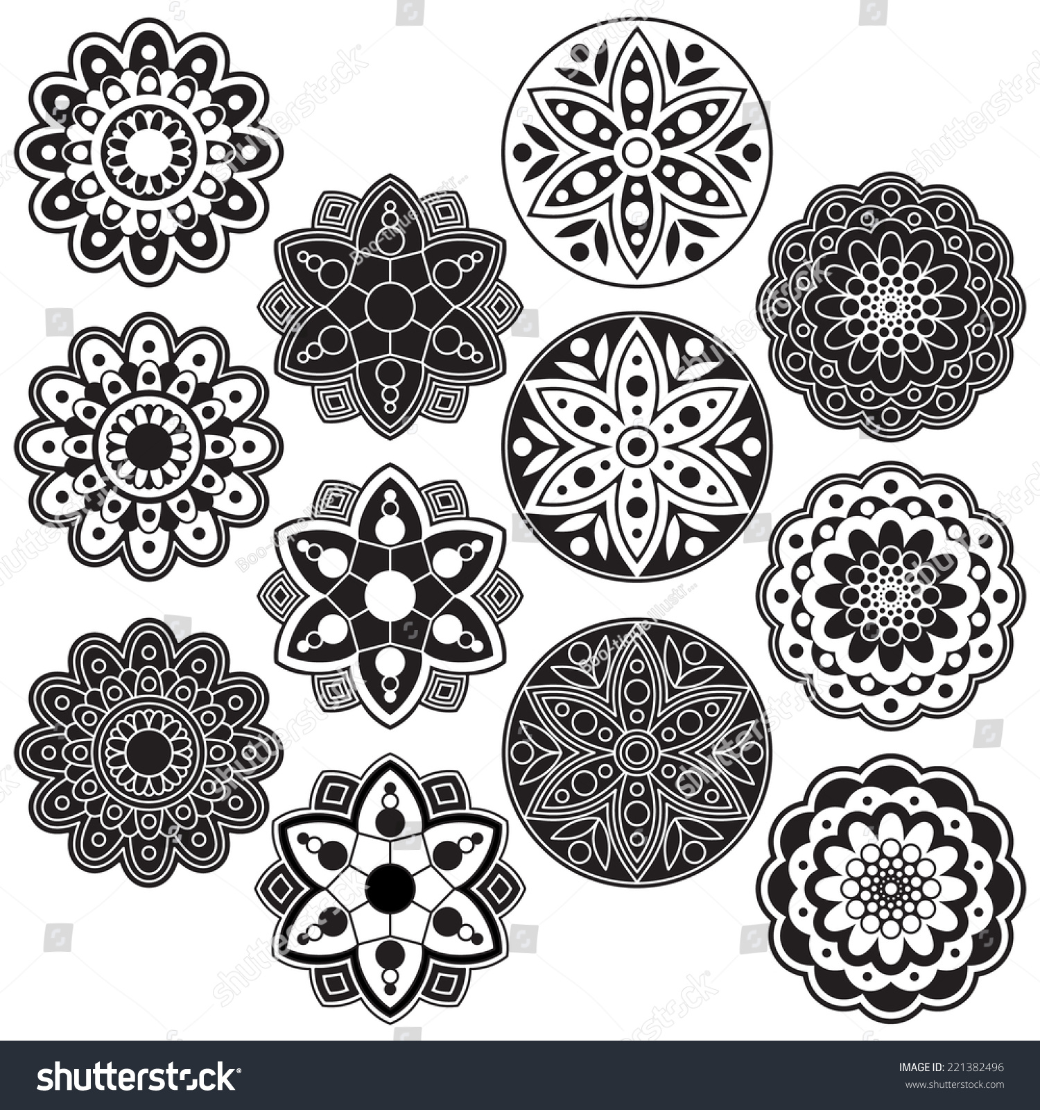 Black and white rangoli clip art set includes 12 black and white geometric flowers graphics