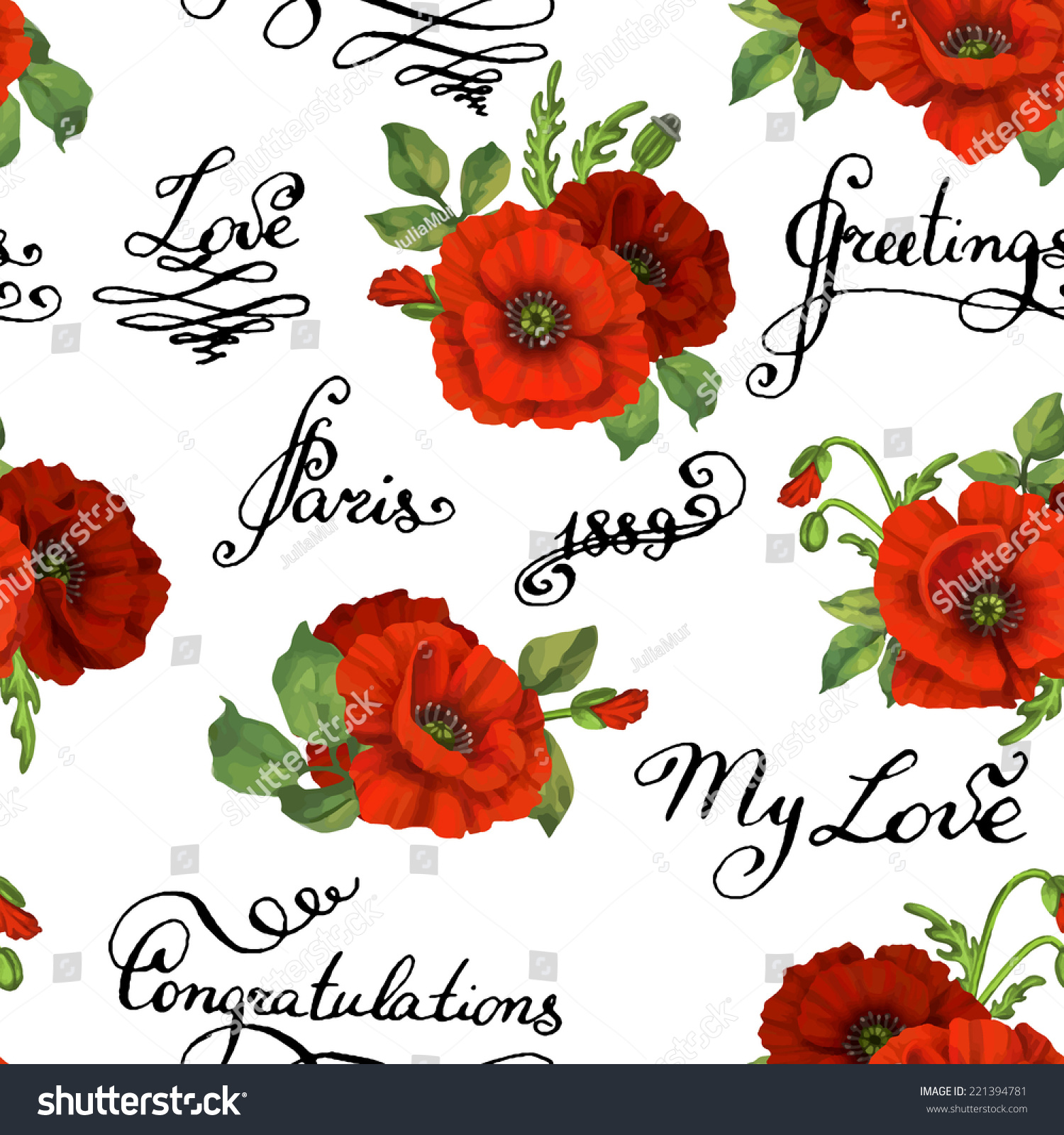 Romantic vector seamless background greeting card wallpaper vector art - Seamless Floral Pattern With Words Flower Vector Illustration Elegance Wallpaper With Poppy On Floral