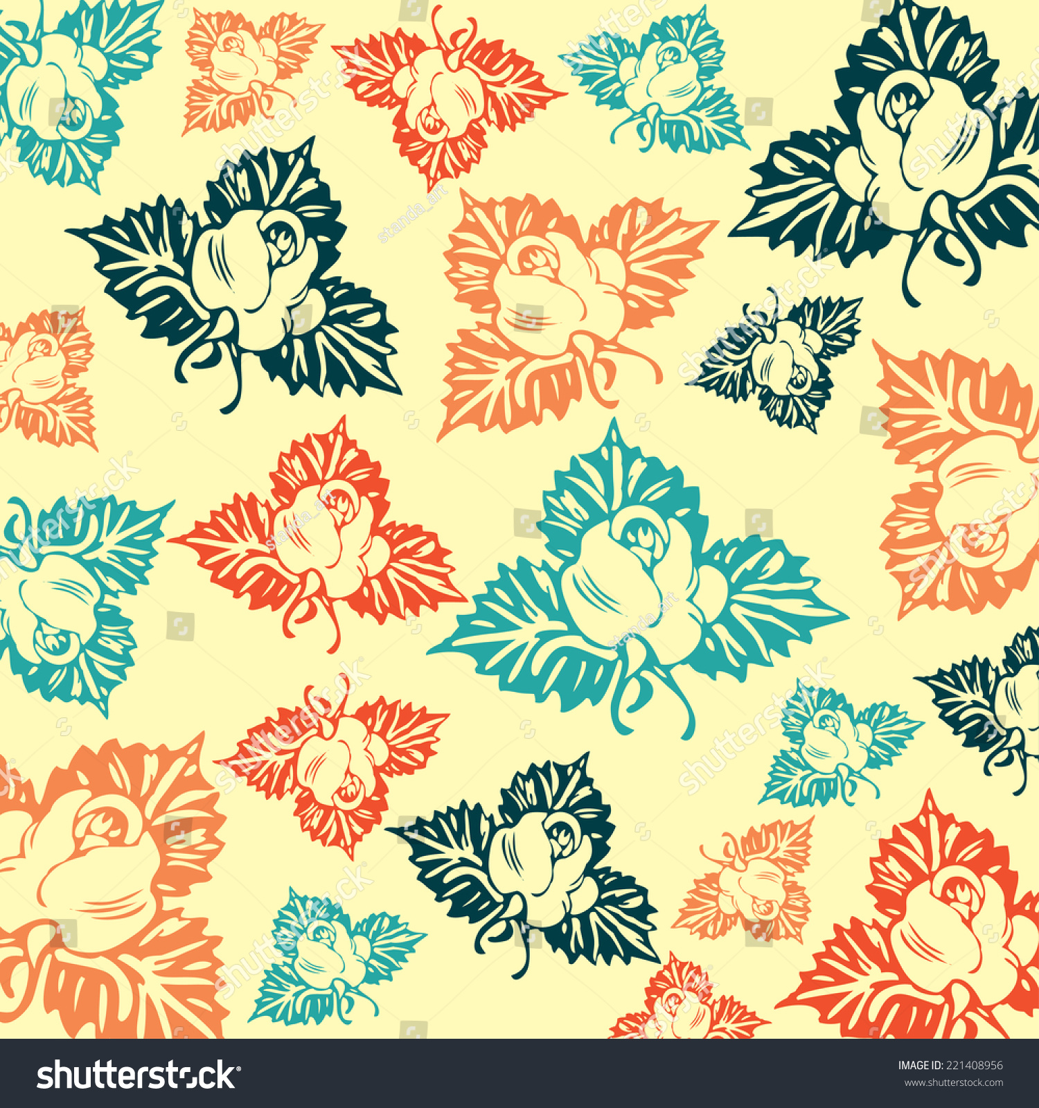 Retro Wallpaper Art Nouveau Stock Vector 221408956 - Shutterstock