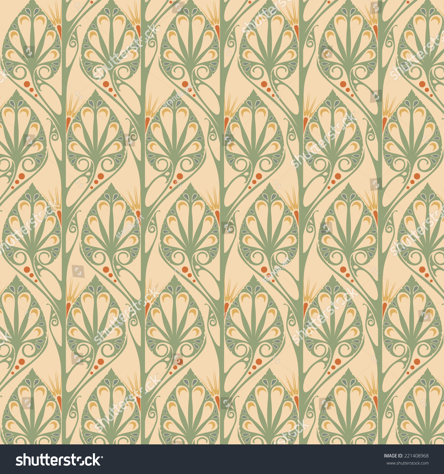 Retro Wallpaper Art Nouveau Stock Vector 221408968 - Shutterstock