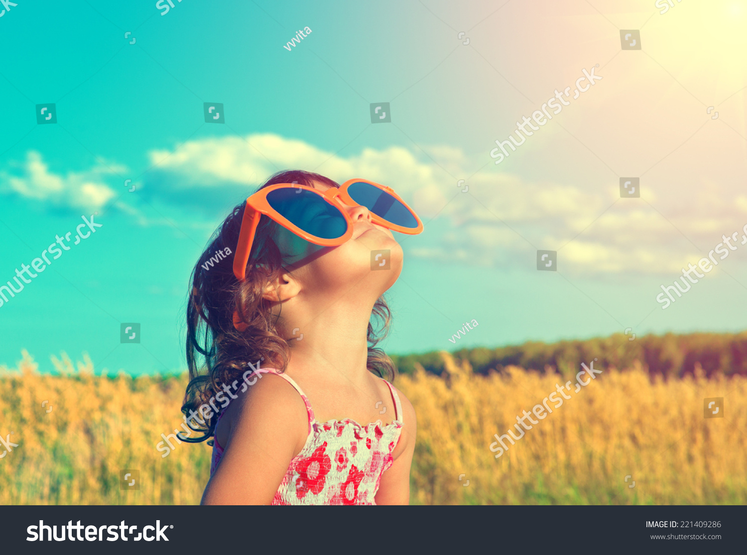c3b42eb3a3 Happy Little Girl Big Sunglasses Looking Stock Photo (Edit Now ...