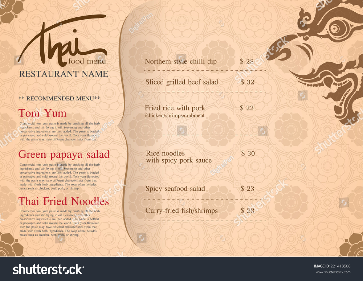 Restaurant menu design thai art stock vector 221418508 for Artistic cuisine menu