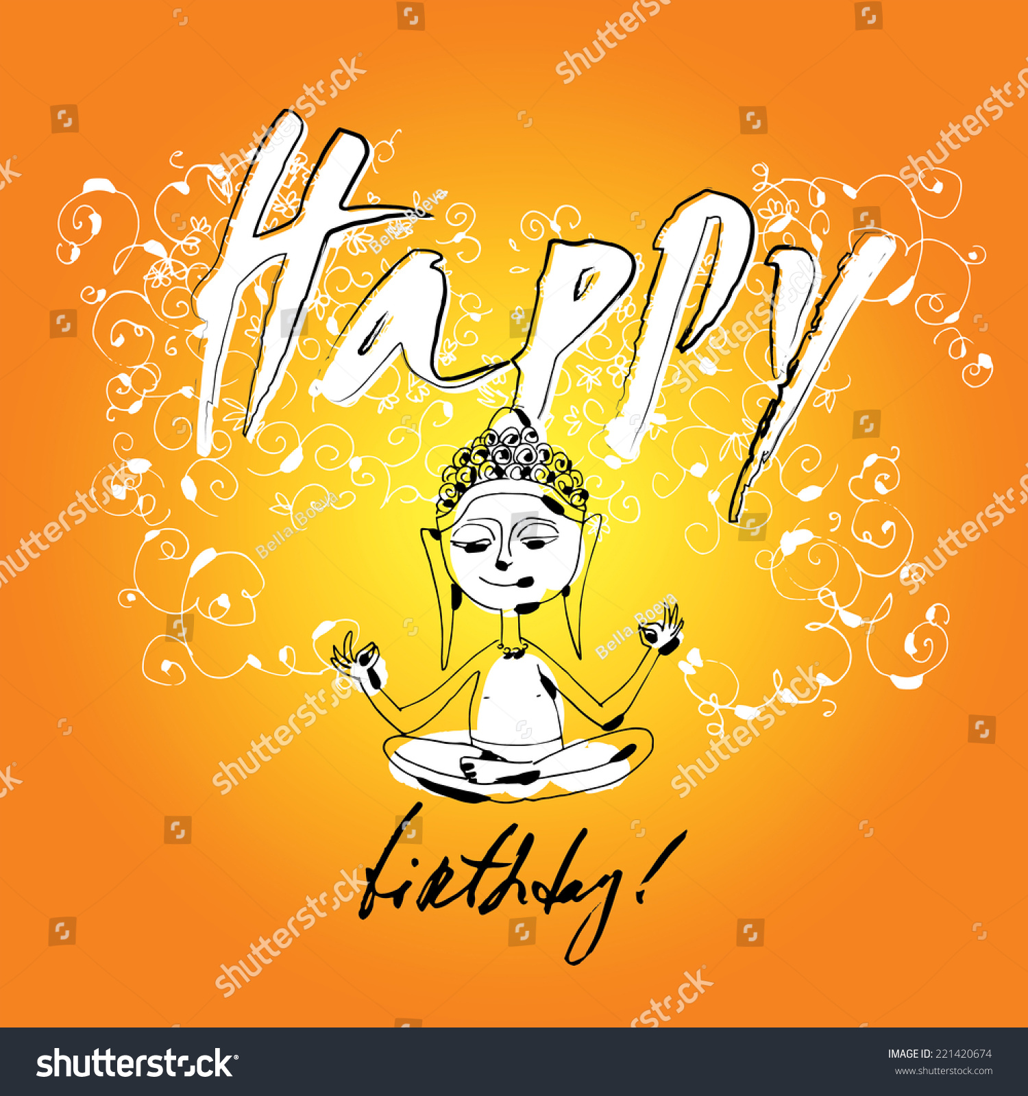 Happy birthday card image buddha vector stock vector 221420674 happy birthday card with image of buddha vector hand drawn illustration funny m4hsunfo