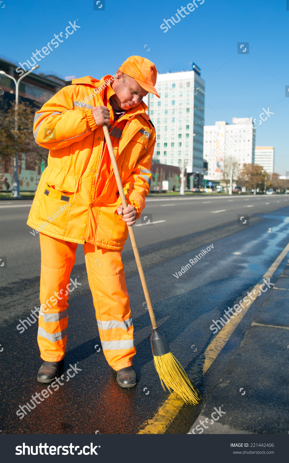 Man Road Sweeper Worker Cleaning City Street With Broom ...