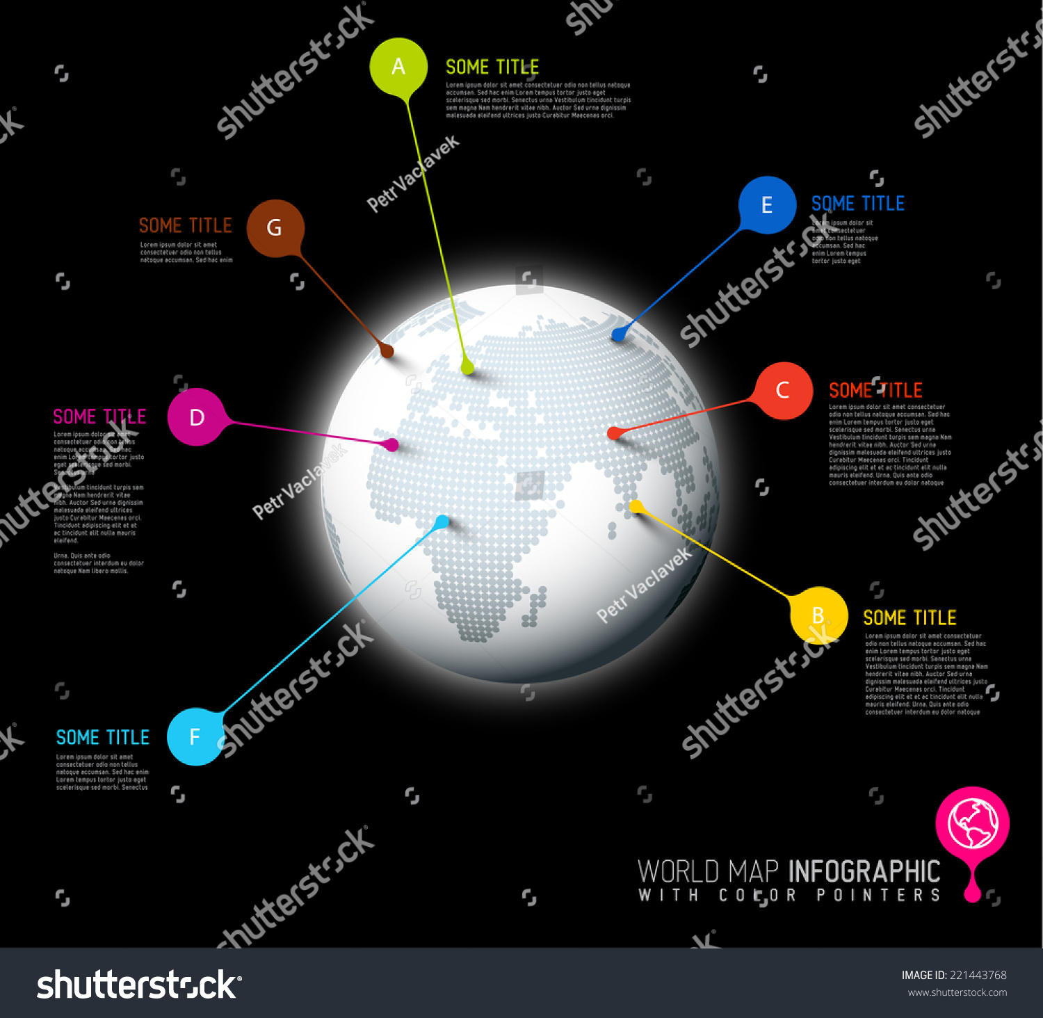 Light world map globe pointer marks stock vector 221443768 light world map globe with pointer marks communication concept dark version sciox Image collections