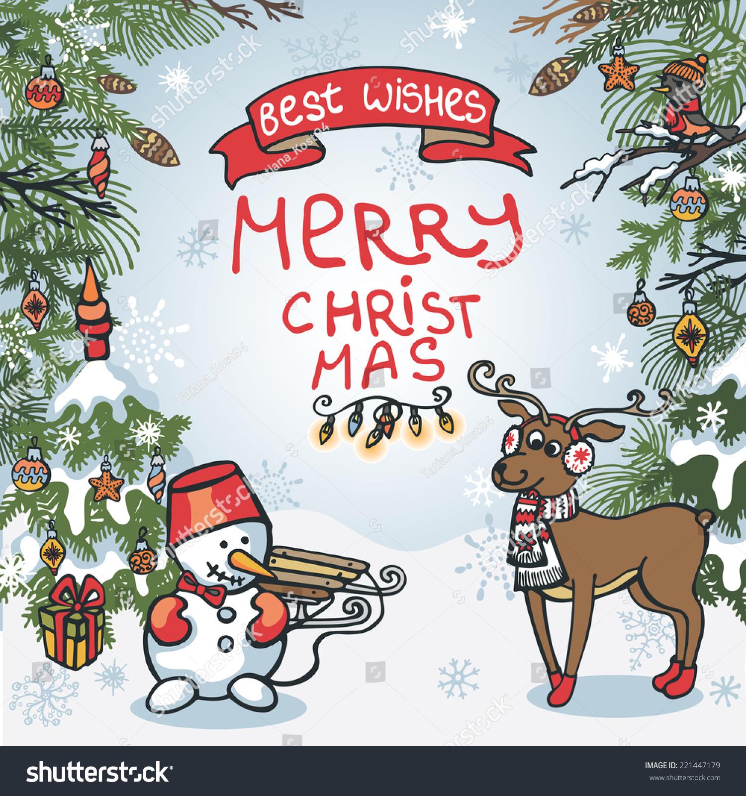 Funny Christmas Greeting Card Cute Cartoon Stock Vector Royalty