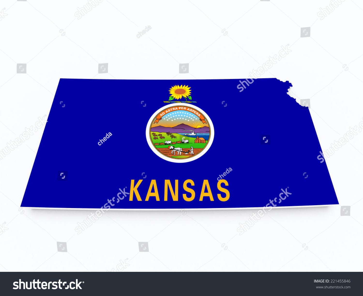 kansas state map with waving flag of us state vector illustration