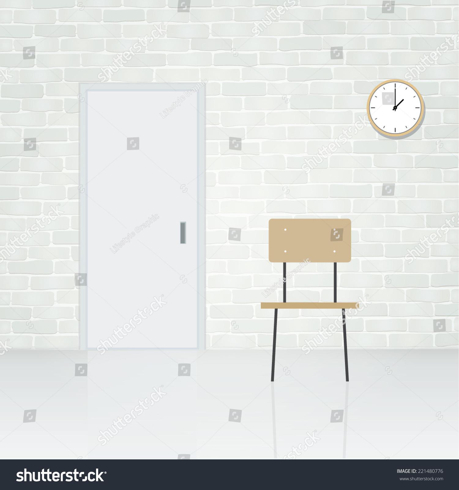 White Door Wooden Chair Clock White Stock Vector