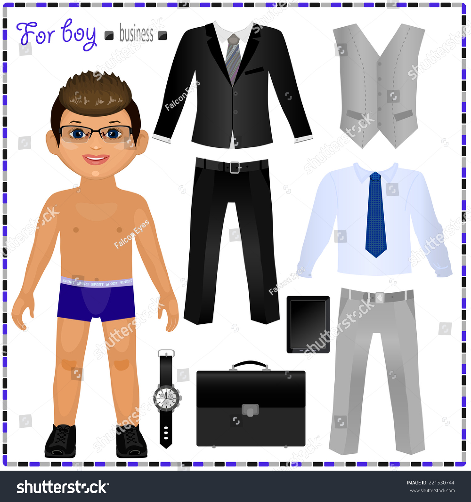 paper doll set clothes business style stock vector royalty free