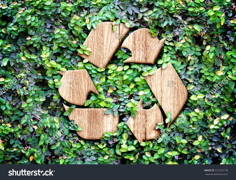 Eco Concept Wood Texture Recycle Icon Stock Photo