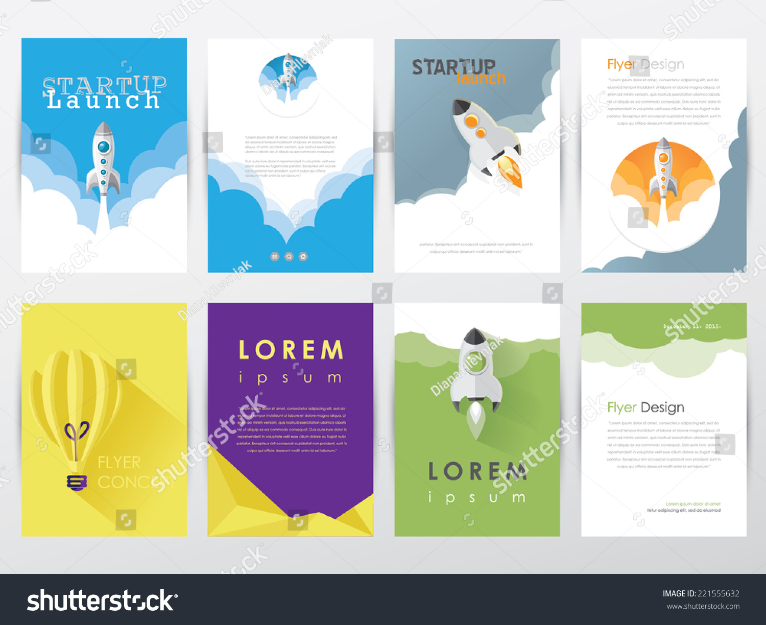Set collection modern trendy flyer brochure stock vector for Graphic design brochure templates
