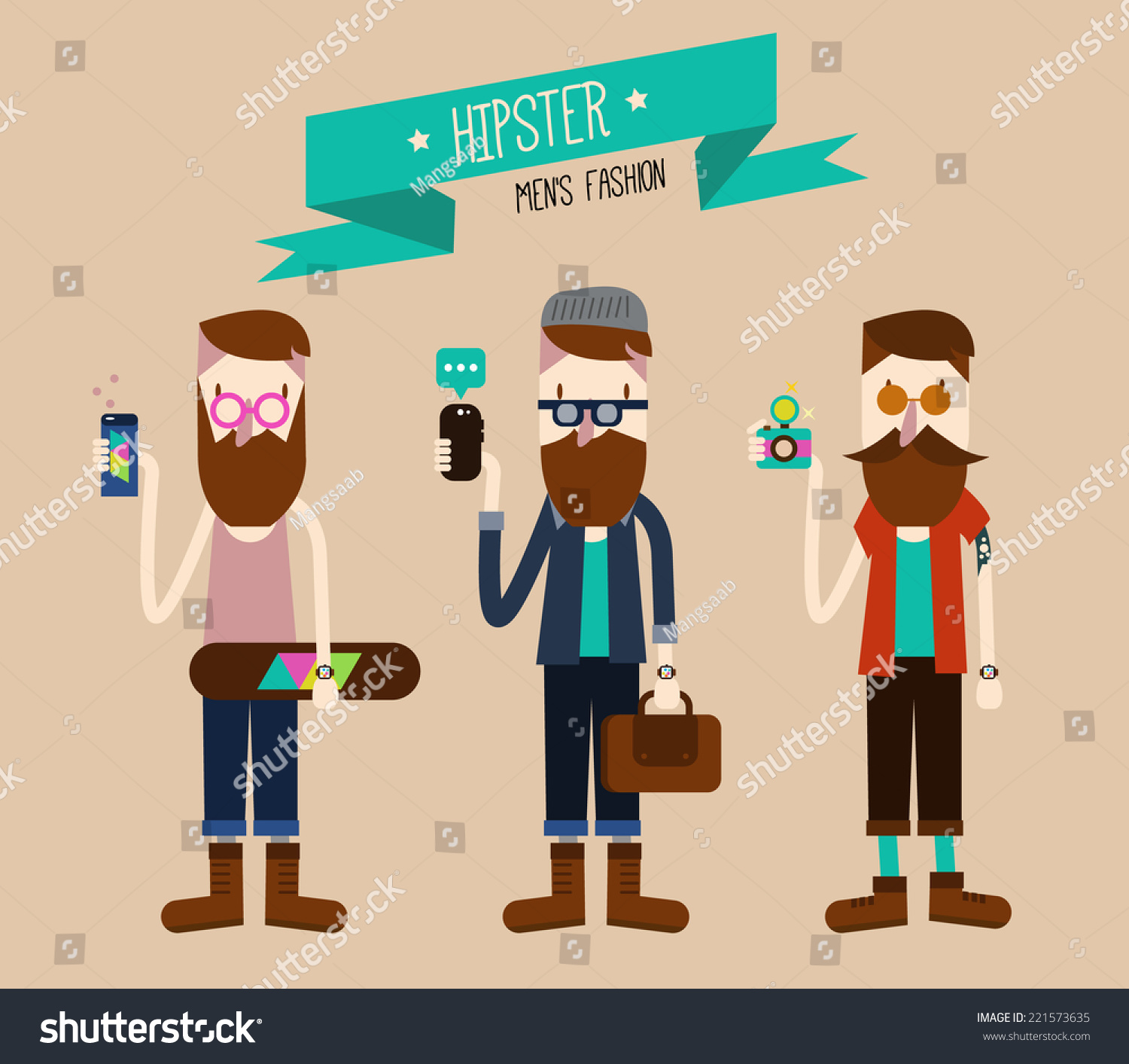 Character Design Set : Hipster fashion style flat character design set vector