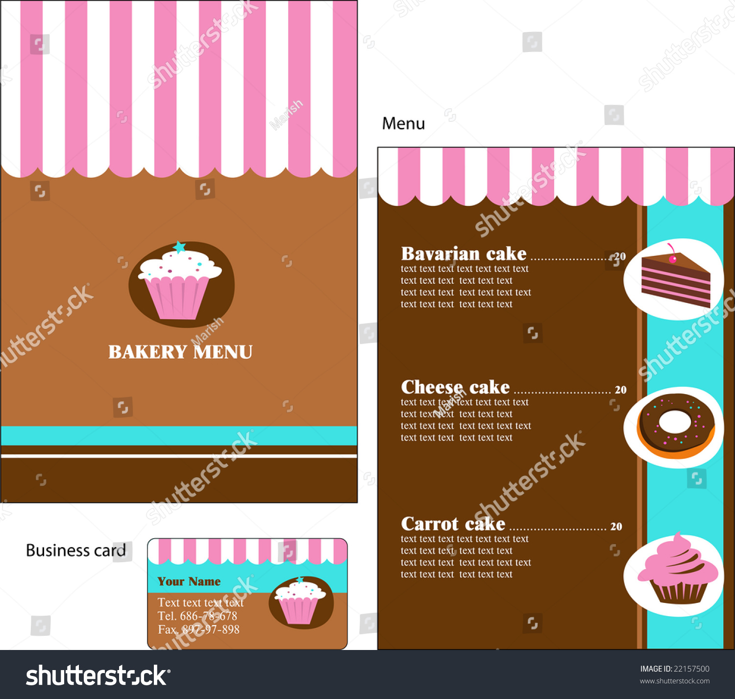 Template Designs Menu Business Card Cafe Stock Vector