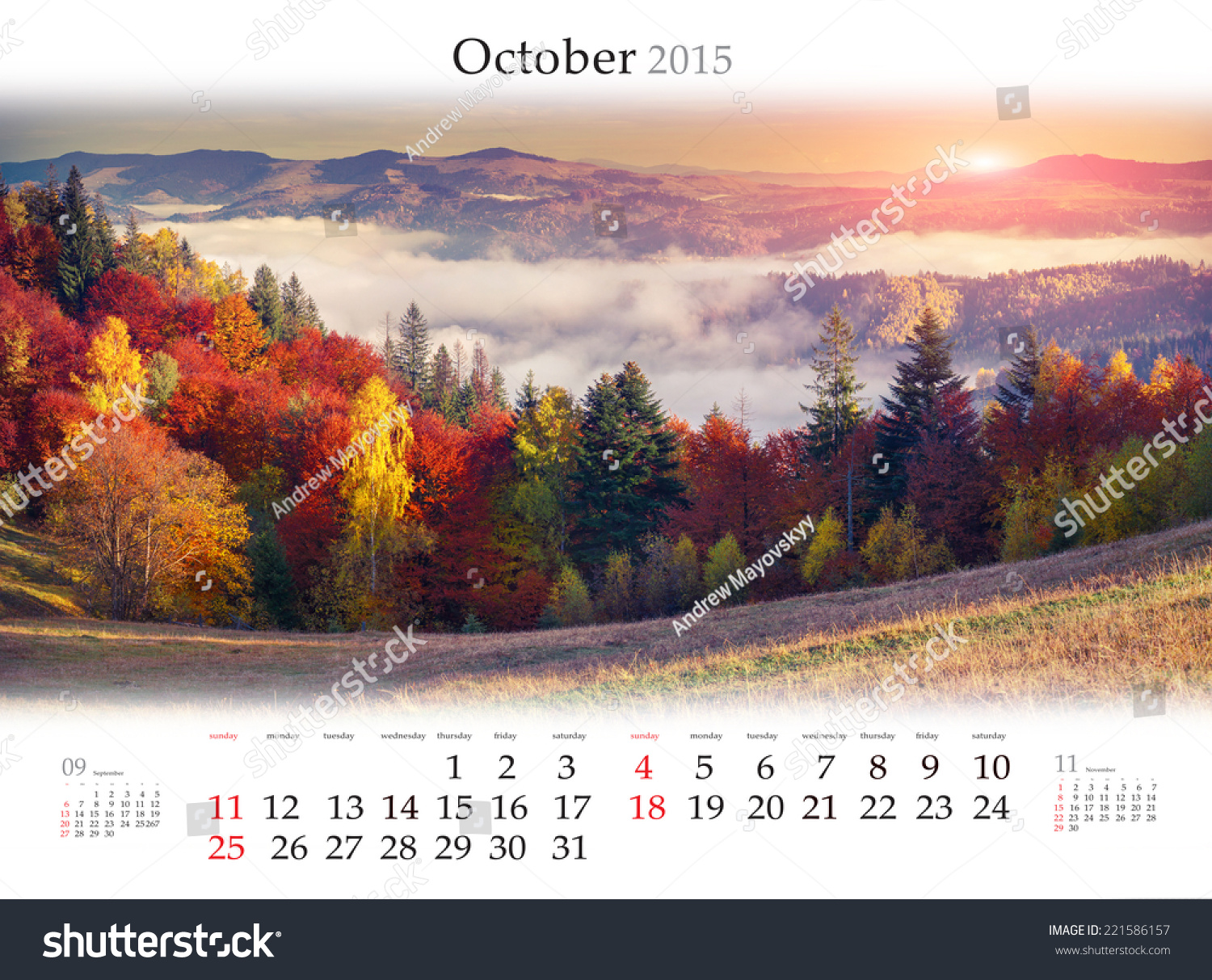 Colorful October 2017 Calendar Template – Free …